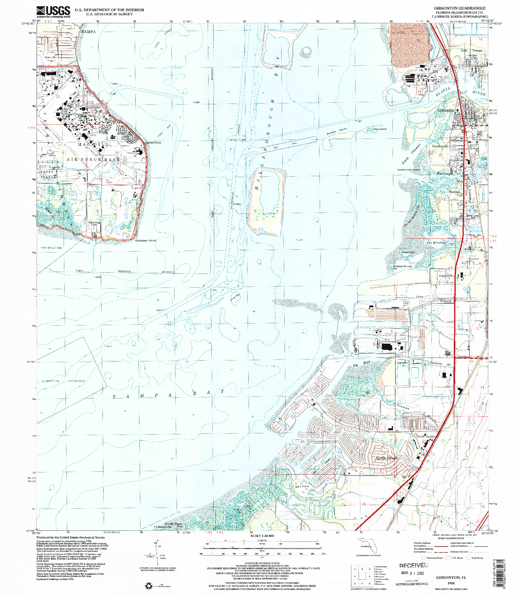 USGS 1:24000-SCALE QUADRANGLE FOR GIBSONTON, FL 1998