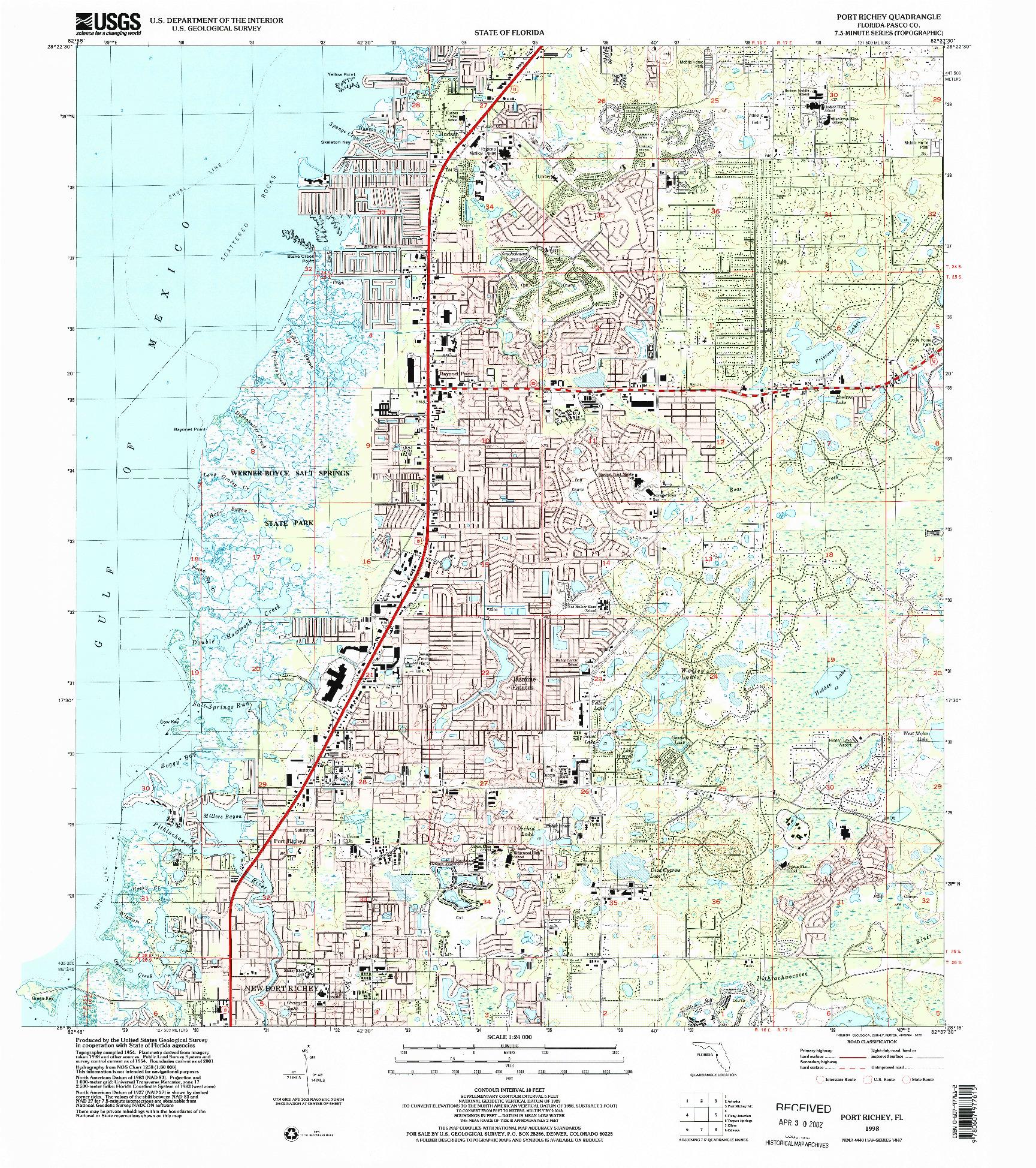 USGS 1:24000-SCALE QUADRANGLE FOR PORT RICHEY, FL 1998