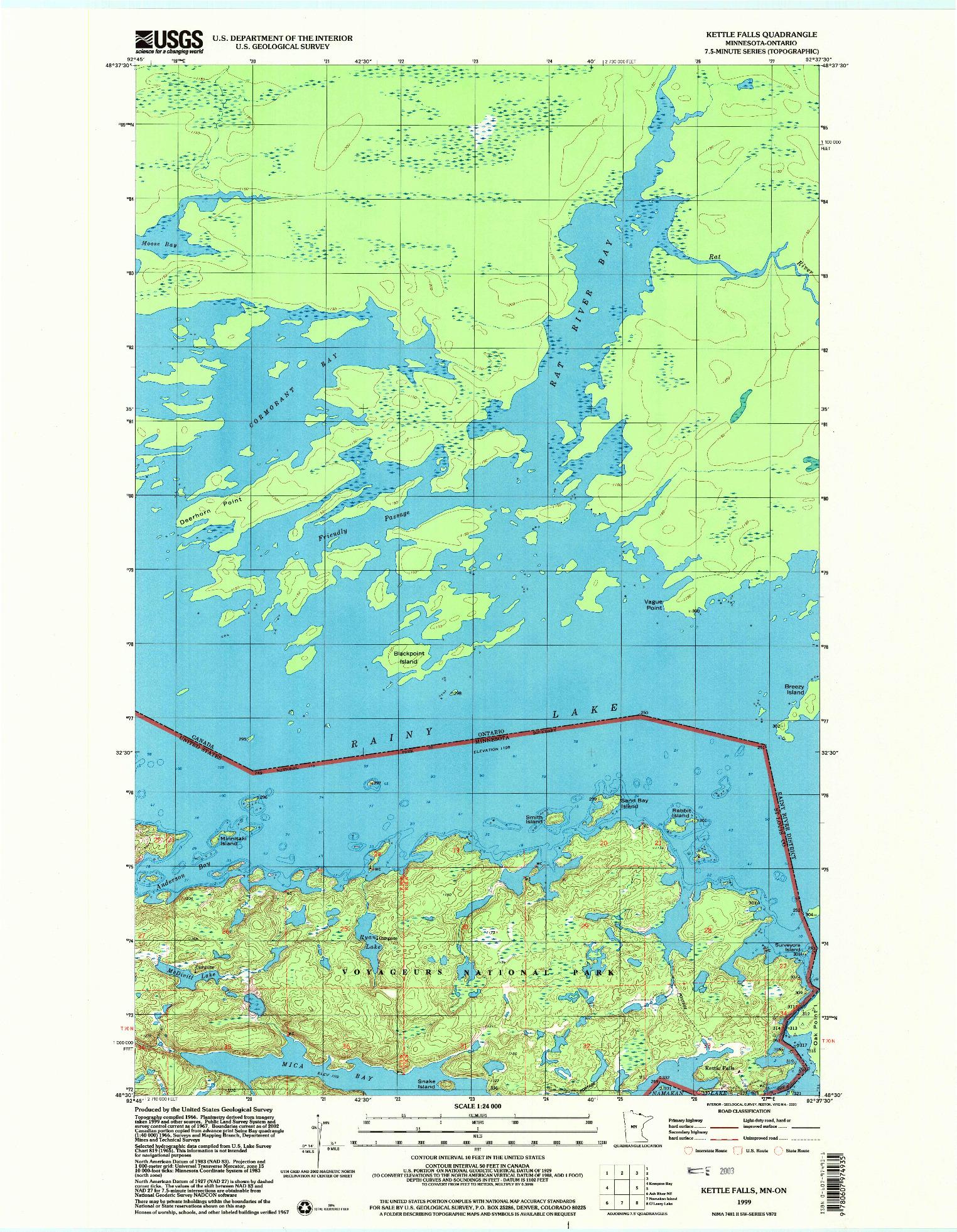 USGS 1:24000-SCALE QUADRANGLE FOR KETTLE FALLS, MN 1999