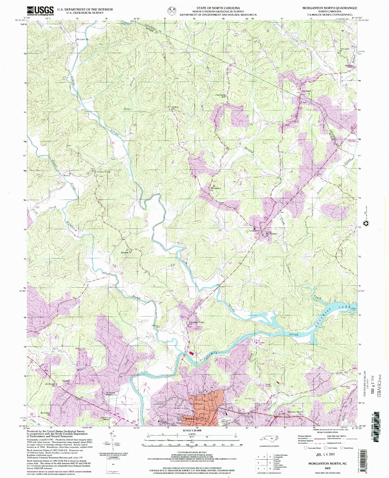 USGS 1:24000-SCALE QUADRANGLE FOR MORGANTON NORTH, NC 2002
