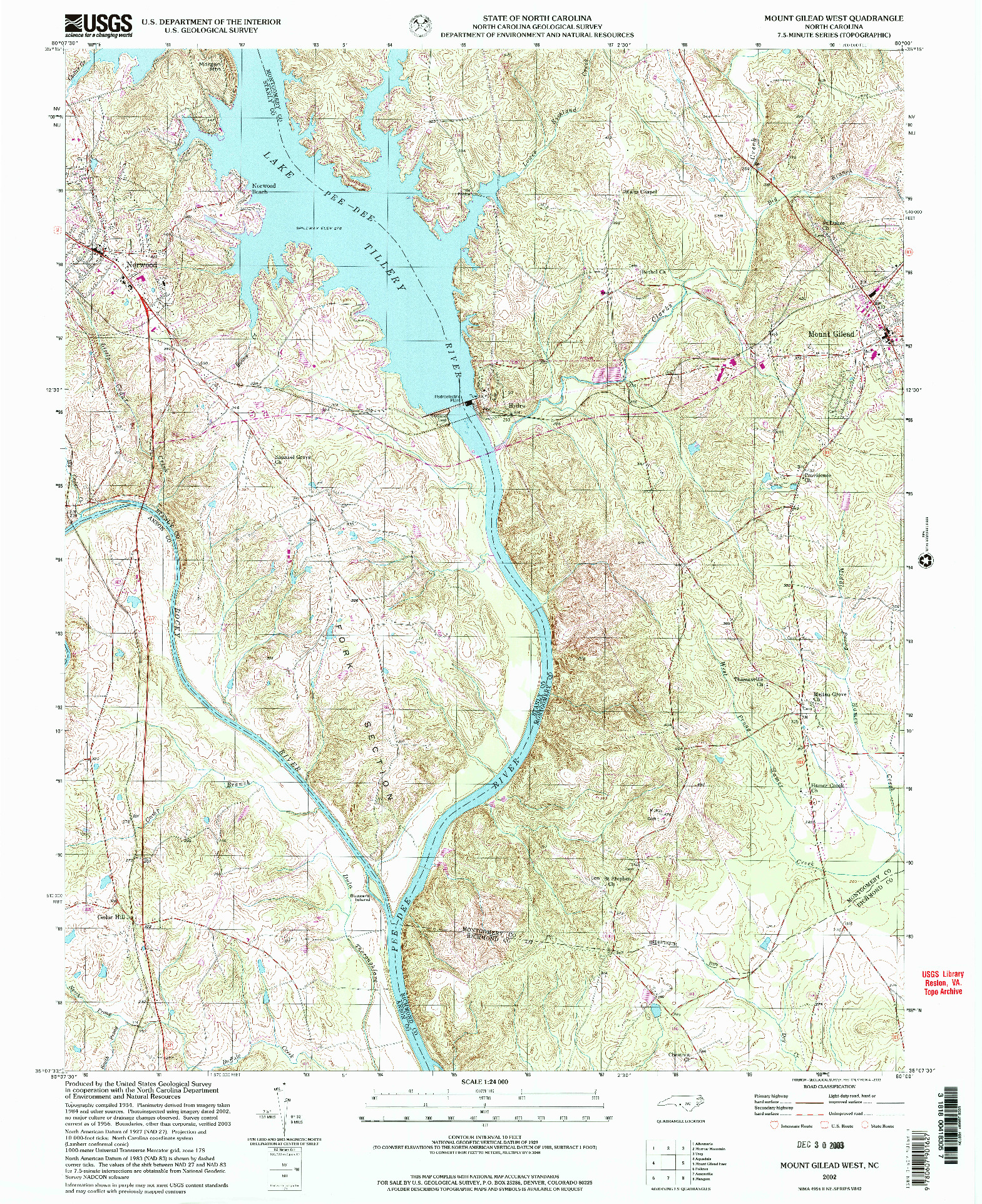USGS 1:24000-SCALE QUADRANGLE FOR MOUNT GILEAD WEST, NC 2002