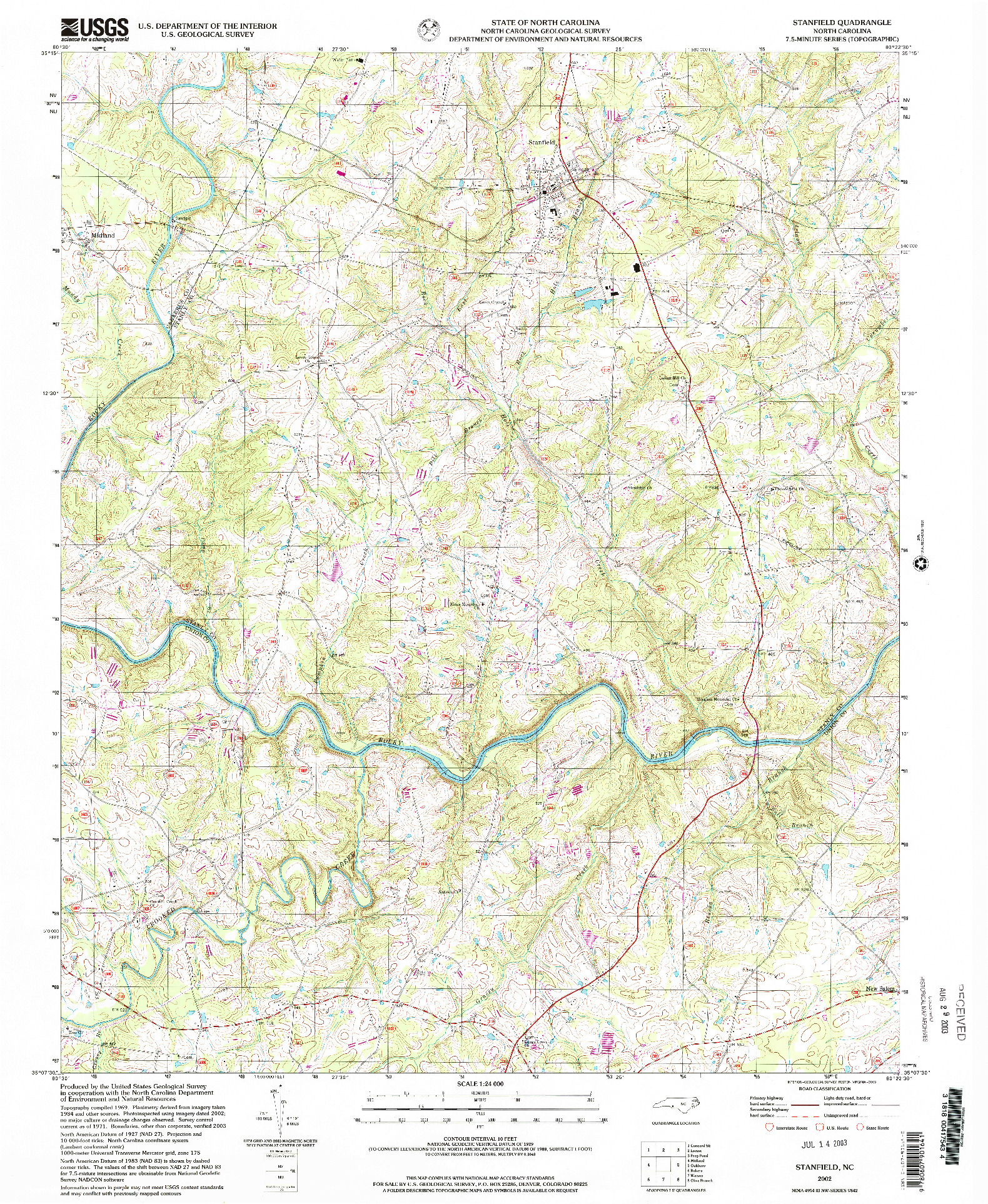 USGS 1:24000-SCALE QUADRANGLE FOR STANFIELD, NC 2002