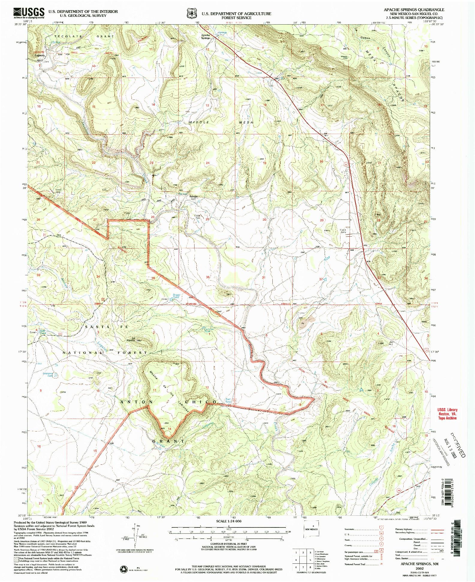 USGS 1:24000-SCALE QUADRANGLE FOR APACHE SPRINGS, NM 2002