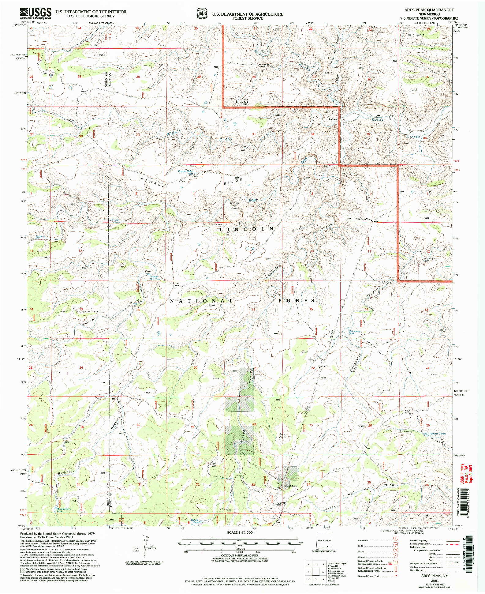 USGS 1:24000-SCALE QUADRANGLE FOR ARES PEAK, NM 2001