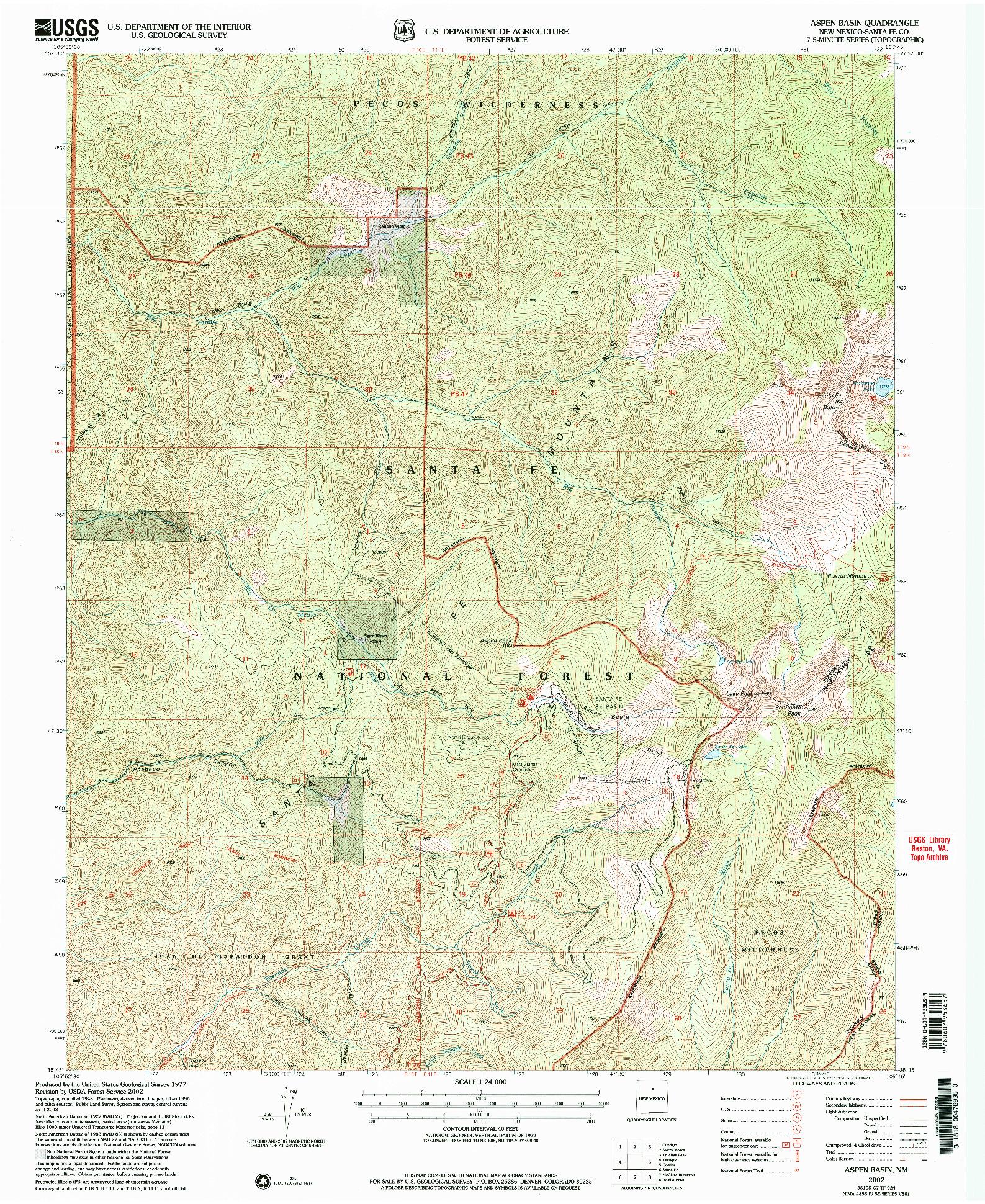 USGS 1:24000-SCALE QUADRANGLE FOR ASPEN BASIN, NM 2002