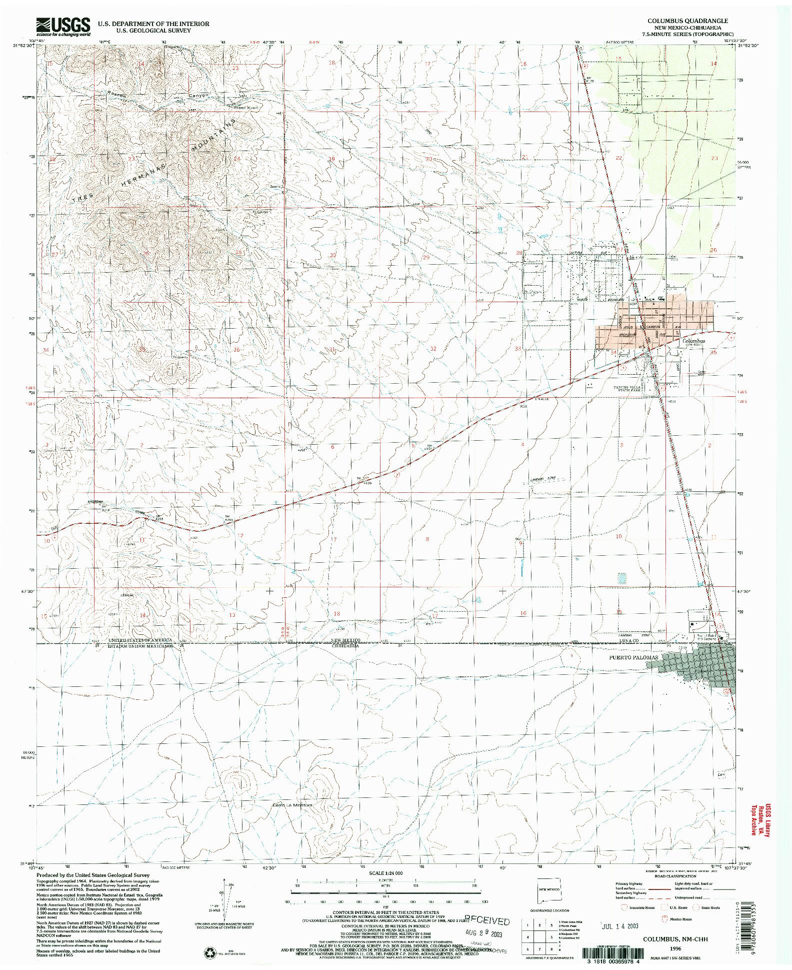 USGS 1:24000-SCALE QUADRANGLE FOR COLUMBUS, NM 1996