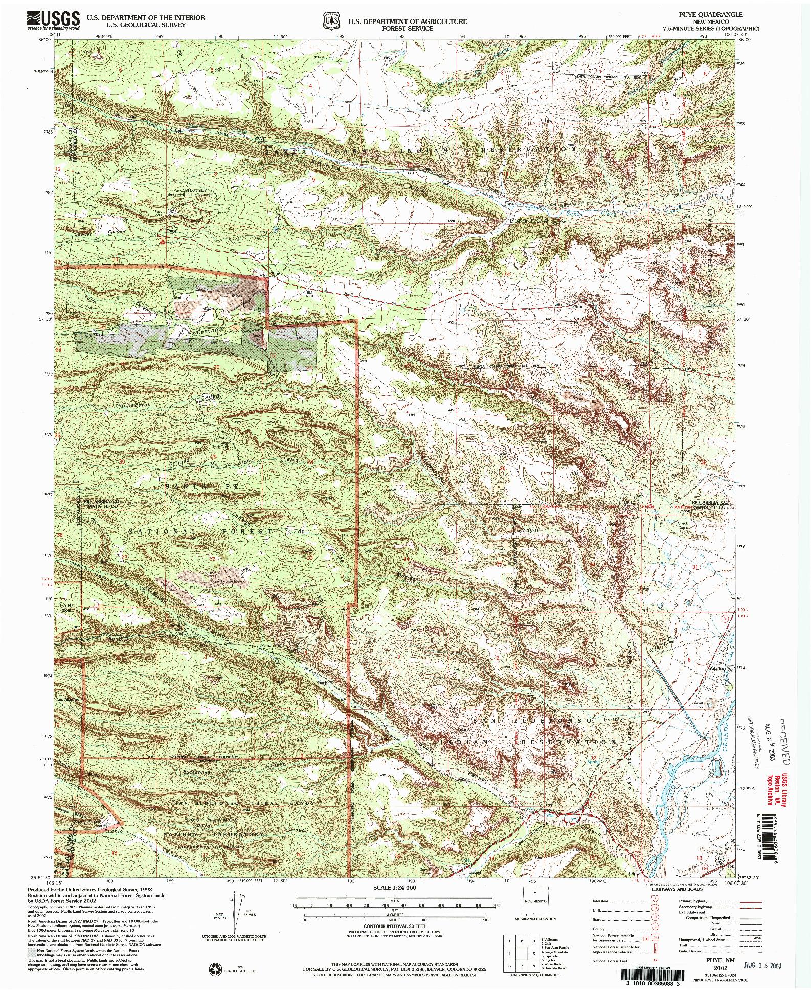 USGS 1:24000-SCALE QUADRANGLE FOR PUYE, NM 2002