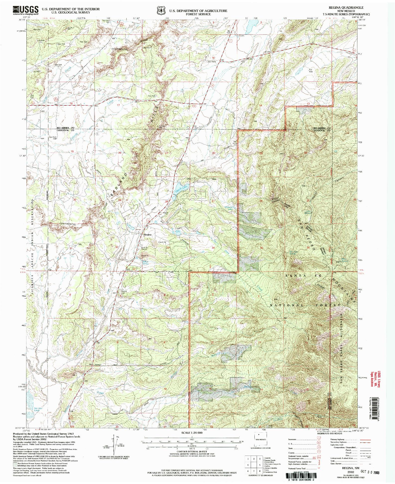 USGS 1:24000-SCALE QUADRANGLE FOR REGINA, NM 2002