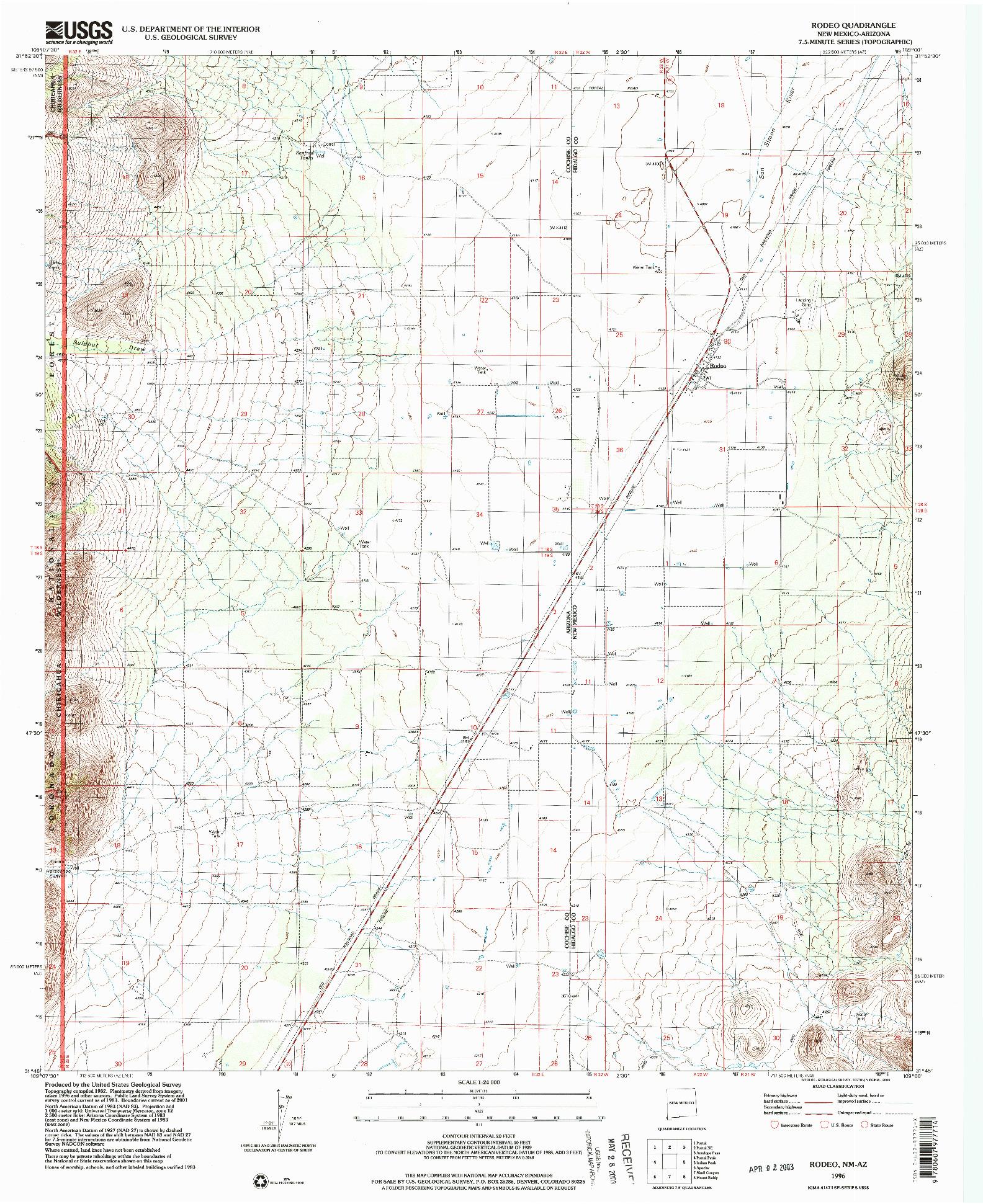USGS 1:24000-SCALE QUADRANGLE FOR RODEO, NM 1996