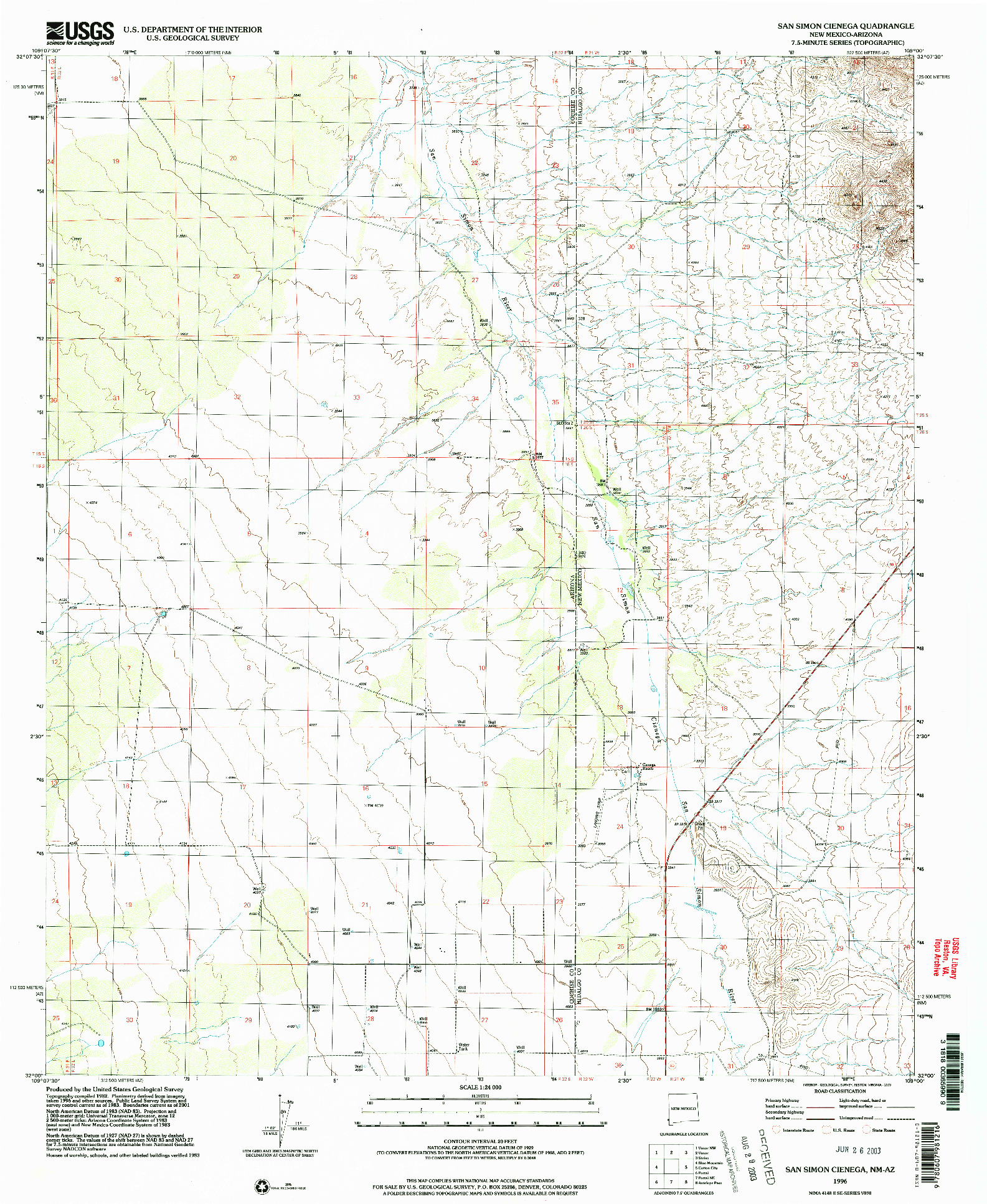 USGS 1:24000-SCALE QUADRANGLE FOR SAN SIMON CIENEGA, NM 1996
