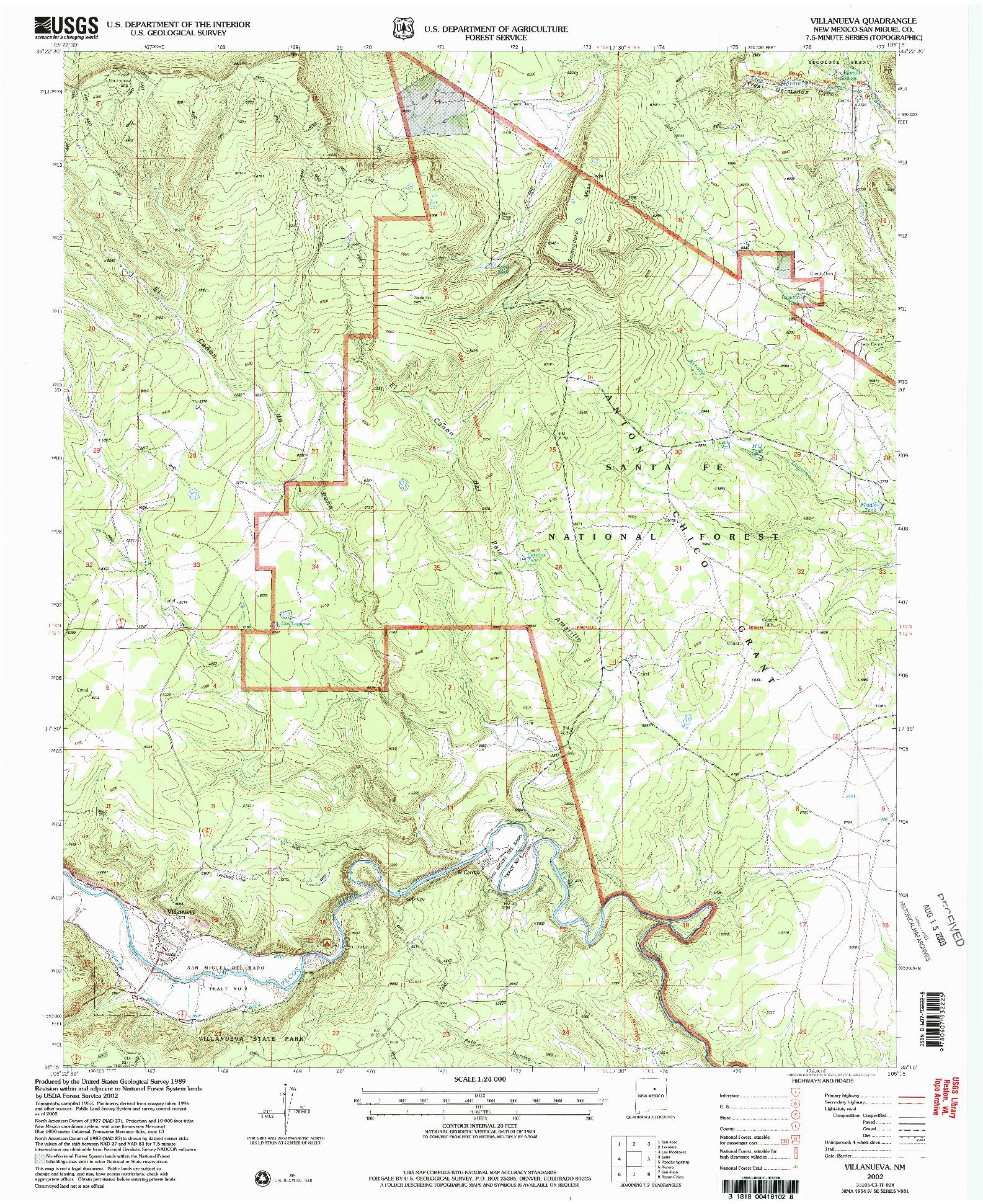 USGS 1:24000-SCALE QUADRANGLE FOR VILLANUEVA, NM 2002