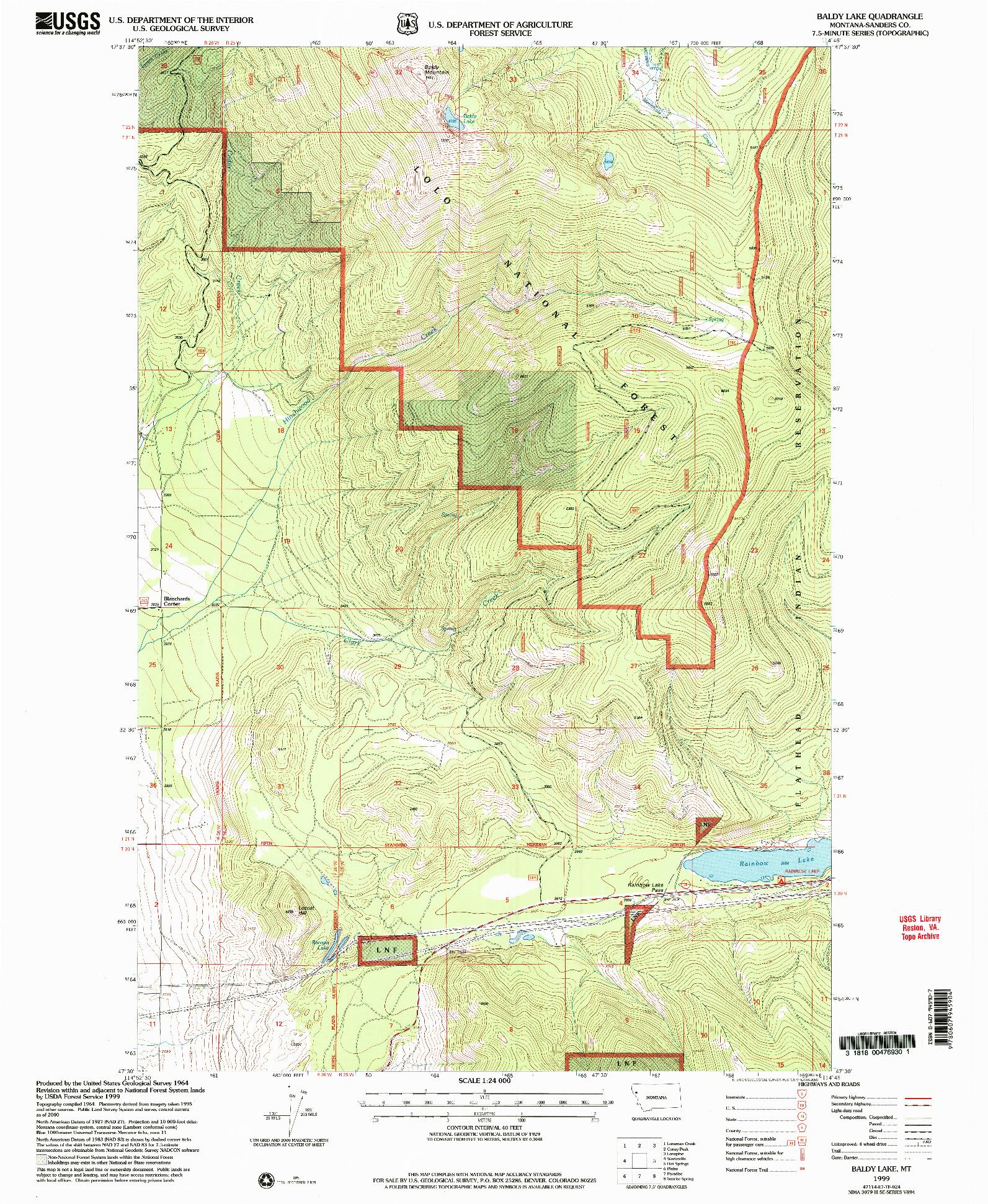 USGS 1:24000-SCALE QUADRANGLE FOR BALDY LAKE, MT 1999