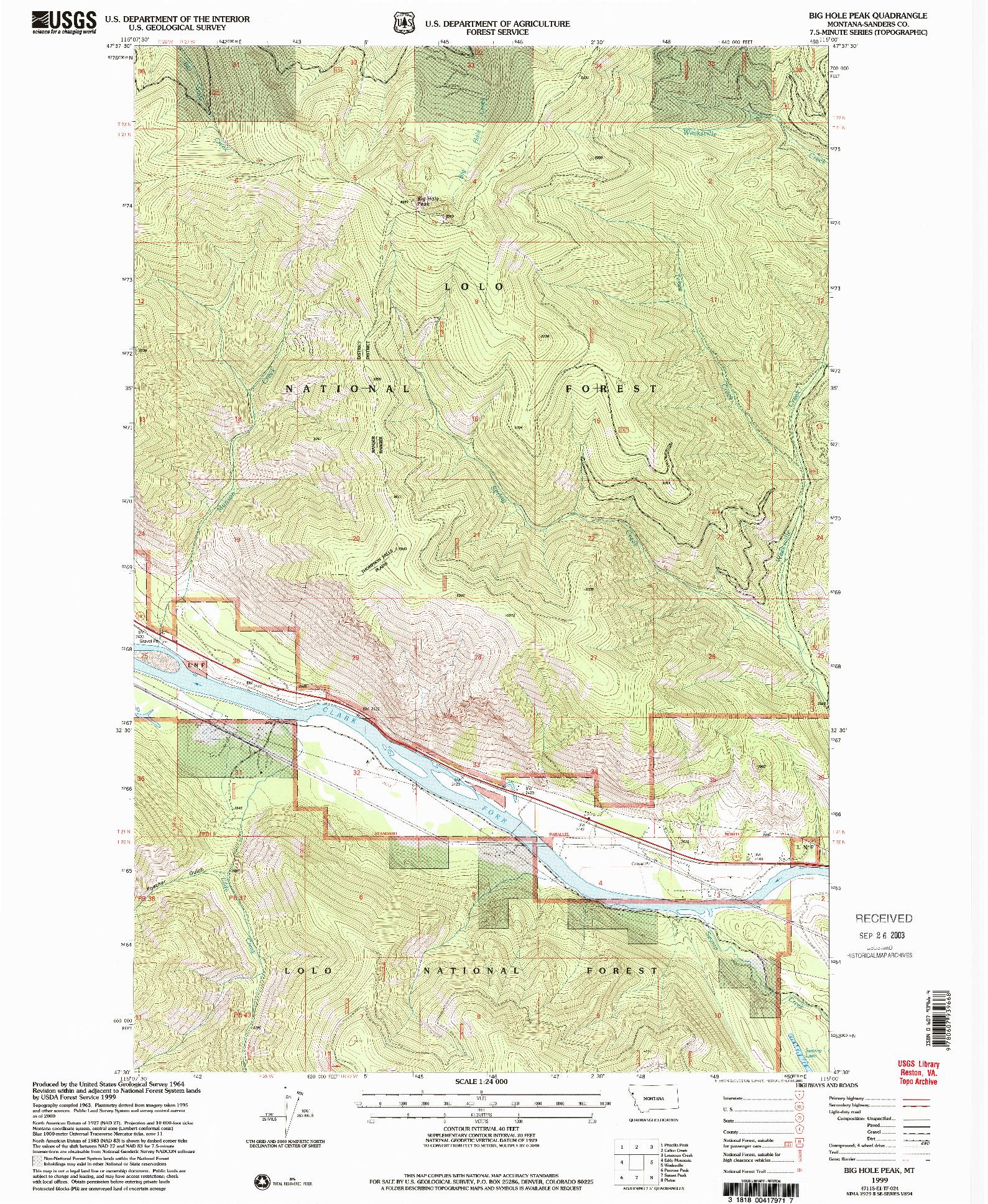 USGS 1:24000-SCALE QUADRANGLE FOR BIG HOLE PEAK, MT 1999