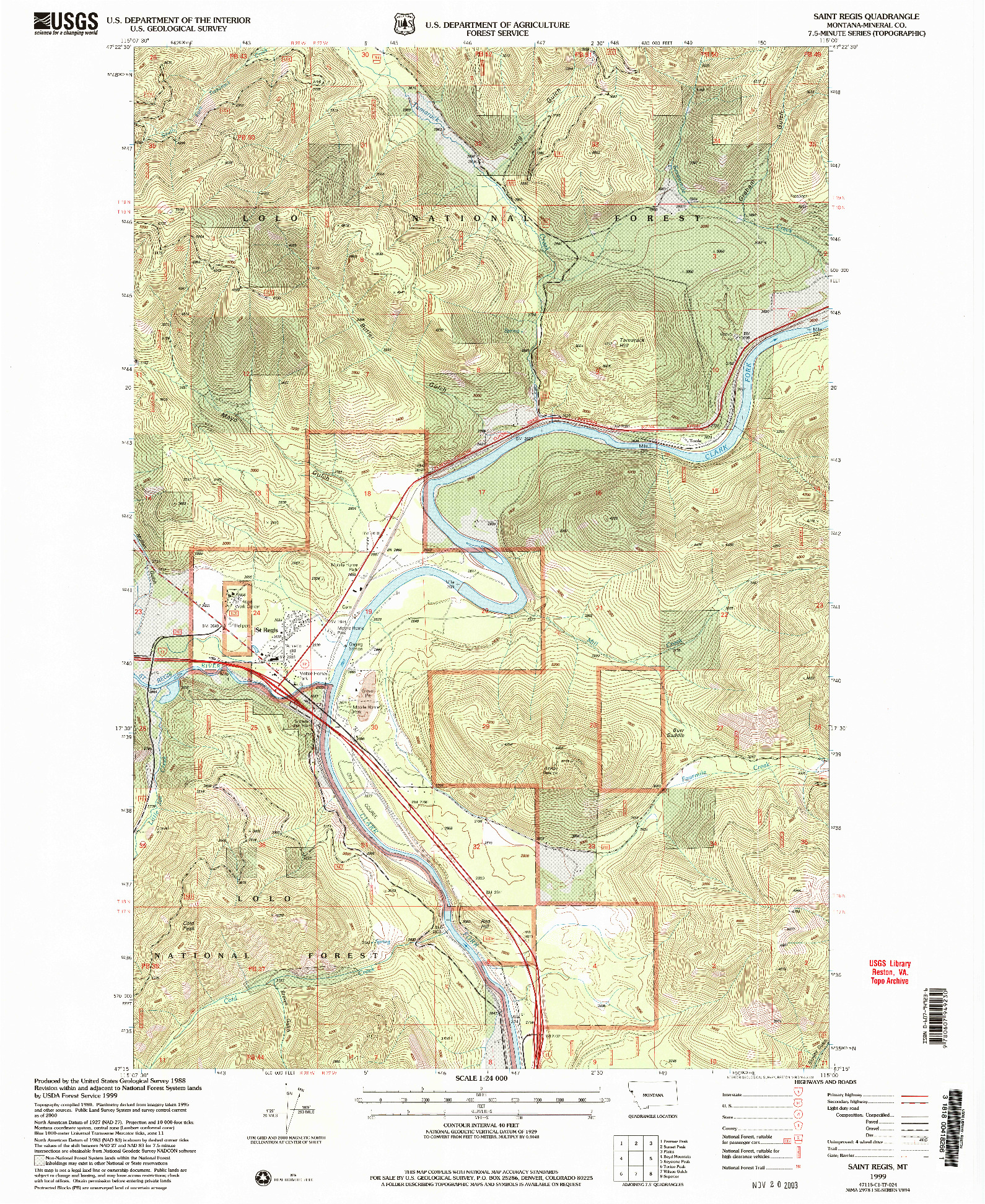 USGS 1:24000-SCALE QUADRANGLE FOR SAINT REGIS, MT 1999