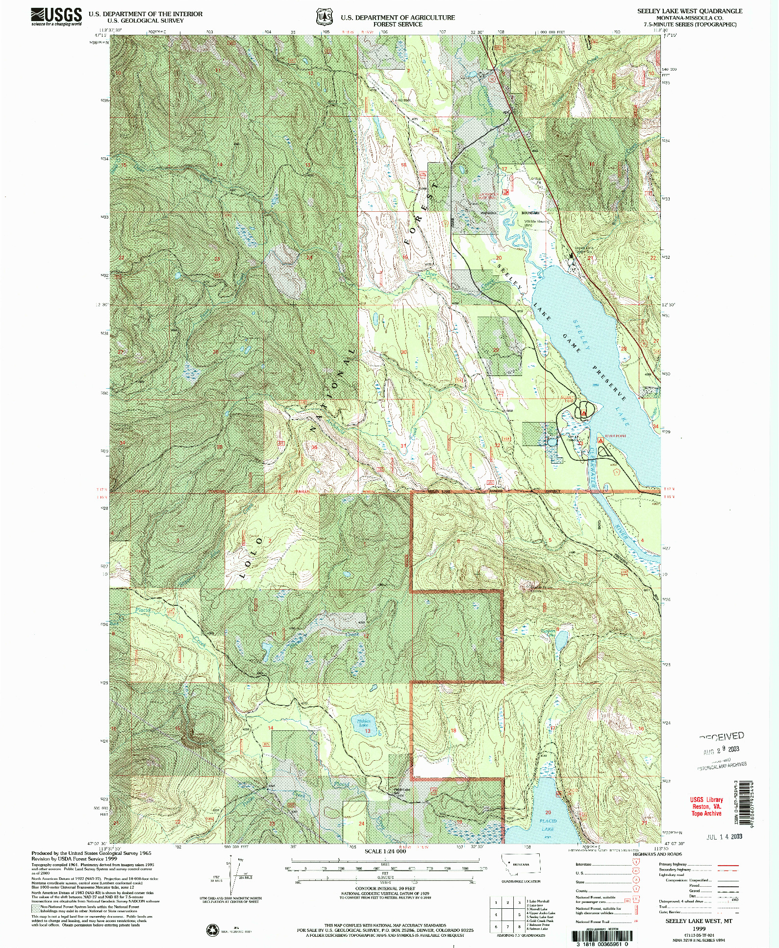 USGS 1:24000-SCALE QUADRANGLE FOR SEELEY LAKE WEST, MT 1999