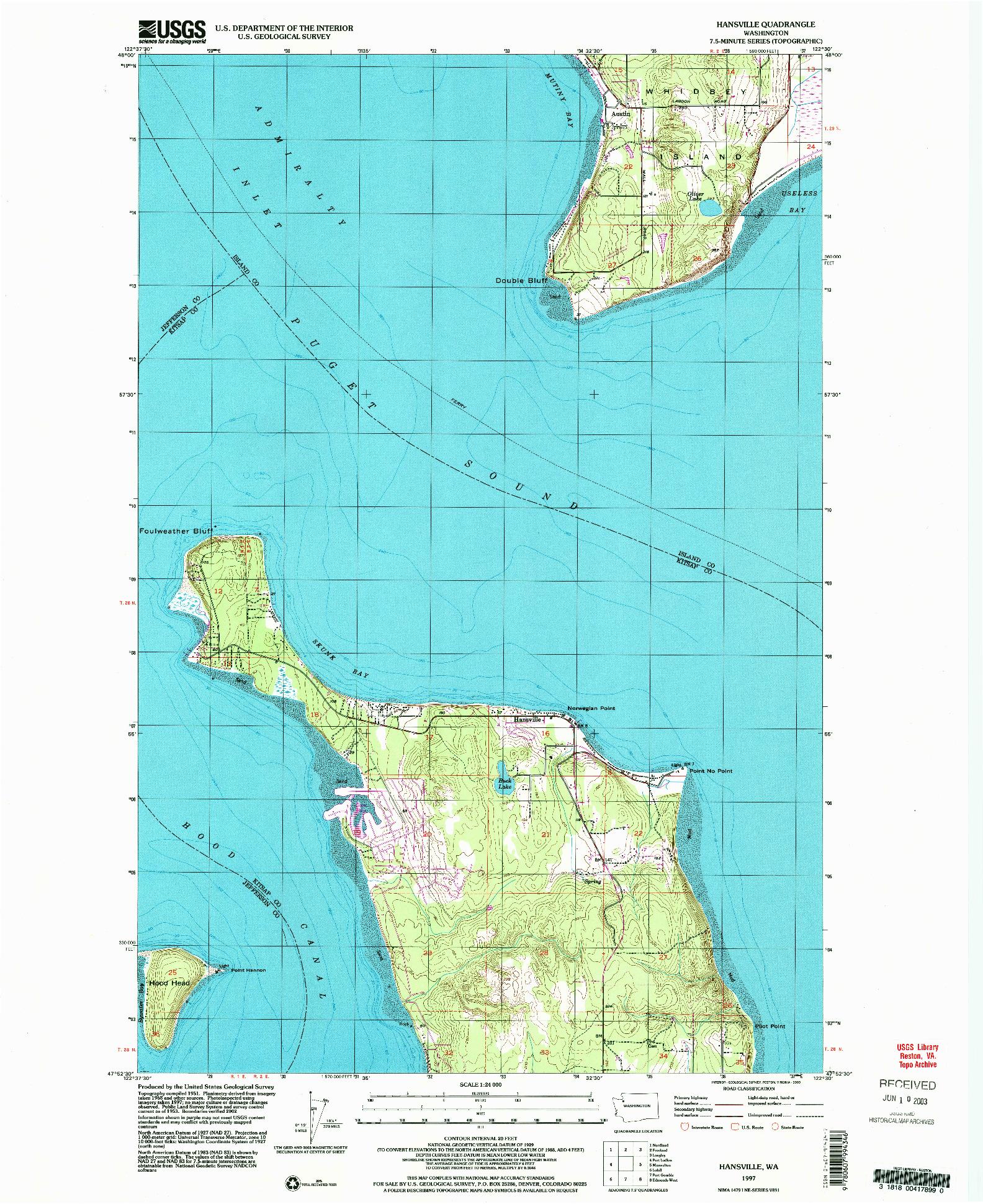 USGS 1:24000-SCALE QUADRANGLE FOR HANSVILLE, WA 1997