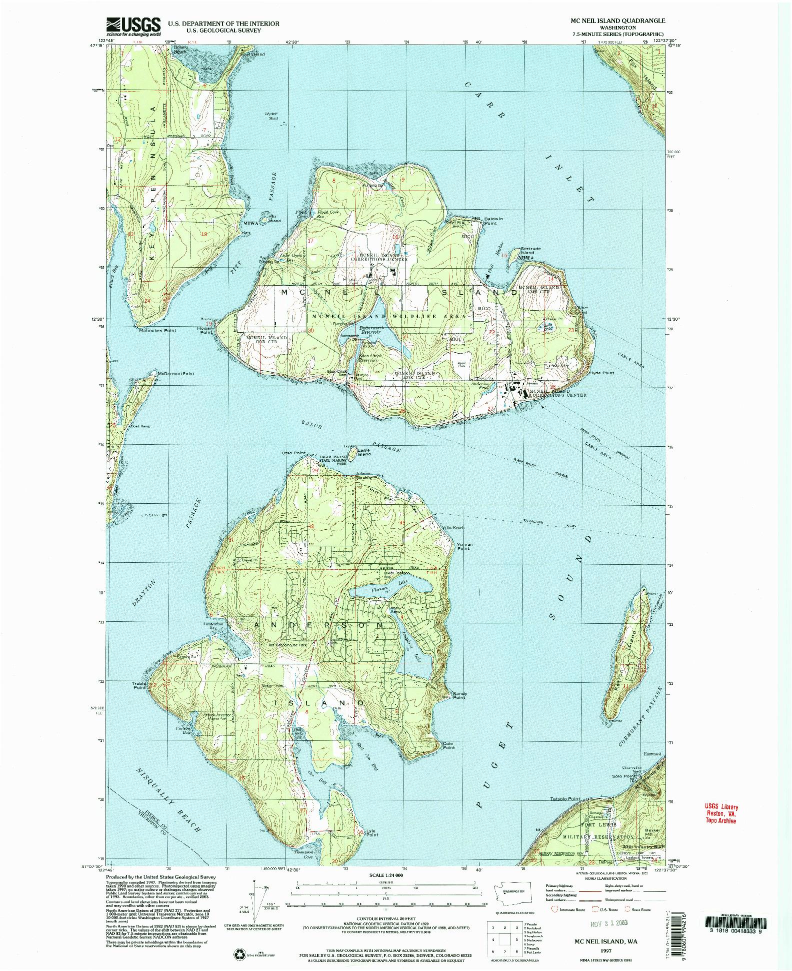 USGS 1:24000-SCALE QUADRANGLE FOR MC NEIL ISLAND, WA 1997