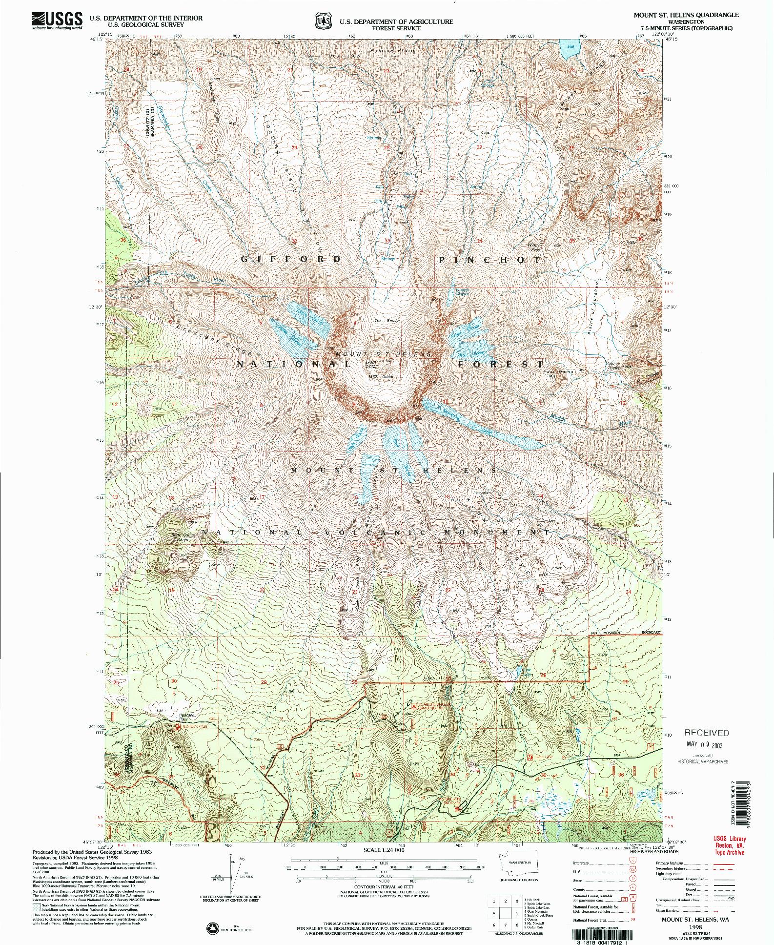 USGS 1:24000-SCALE QUADRANGLE FOR MOUNT ST. HELENS, WA 1998