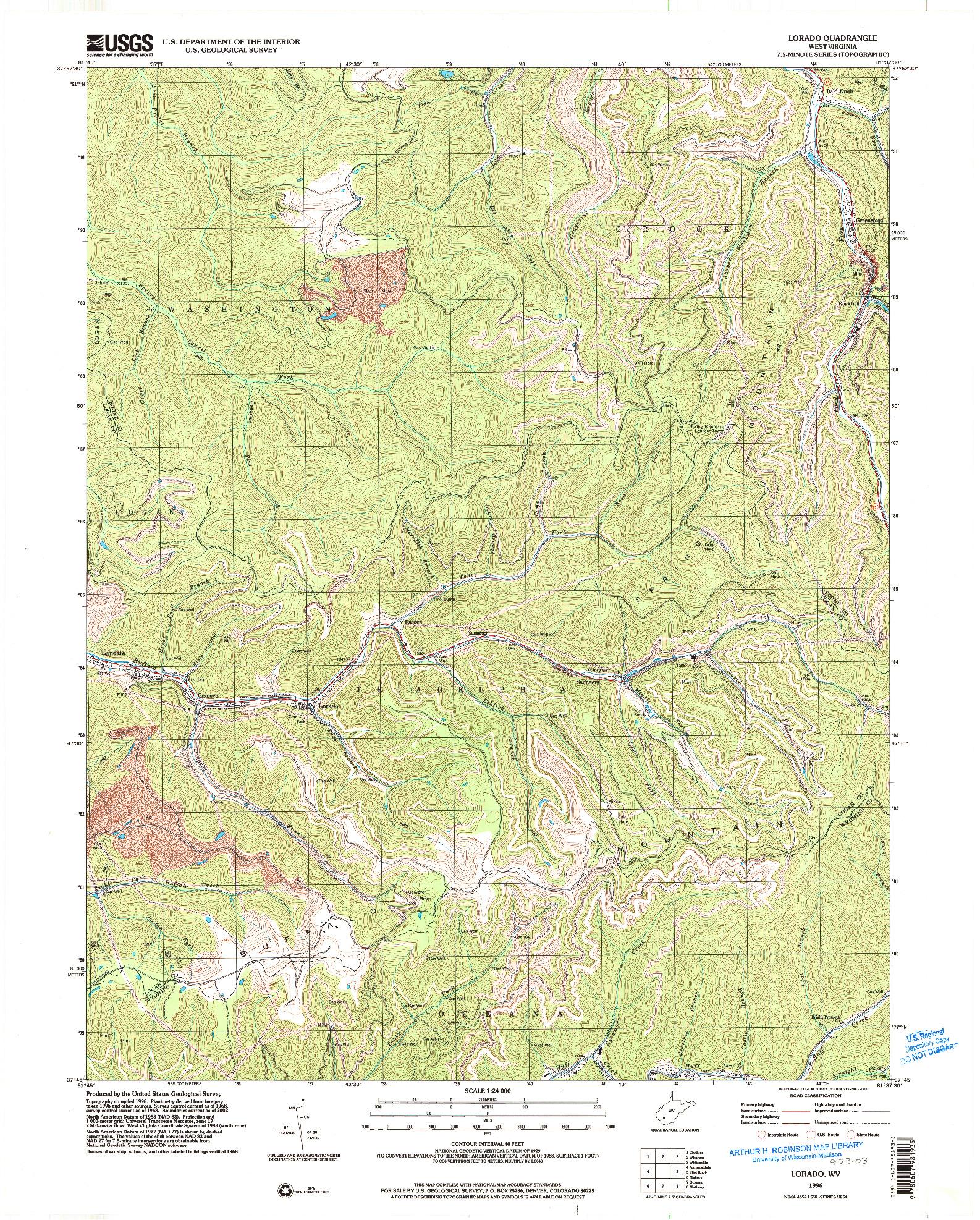USGS 1:24000-SCALE QUADRANGLE FOR LORADO, WV 1996