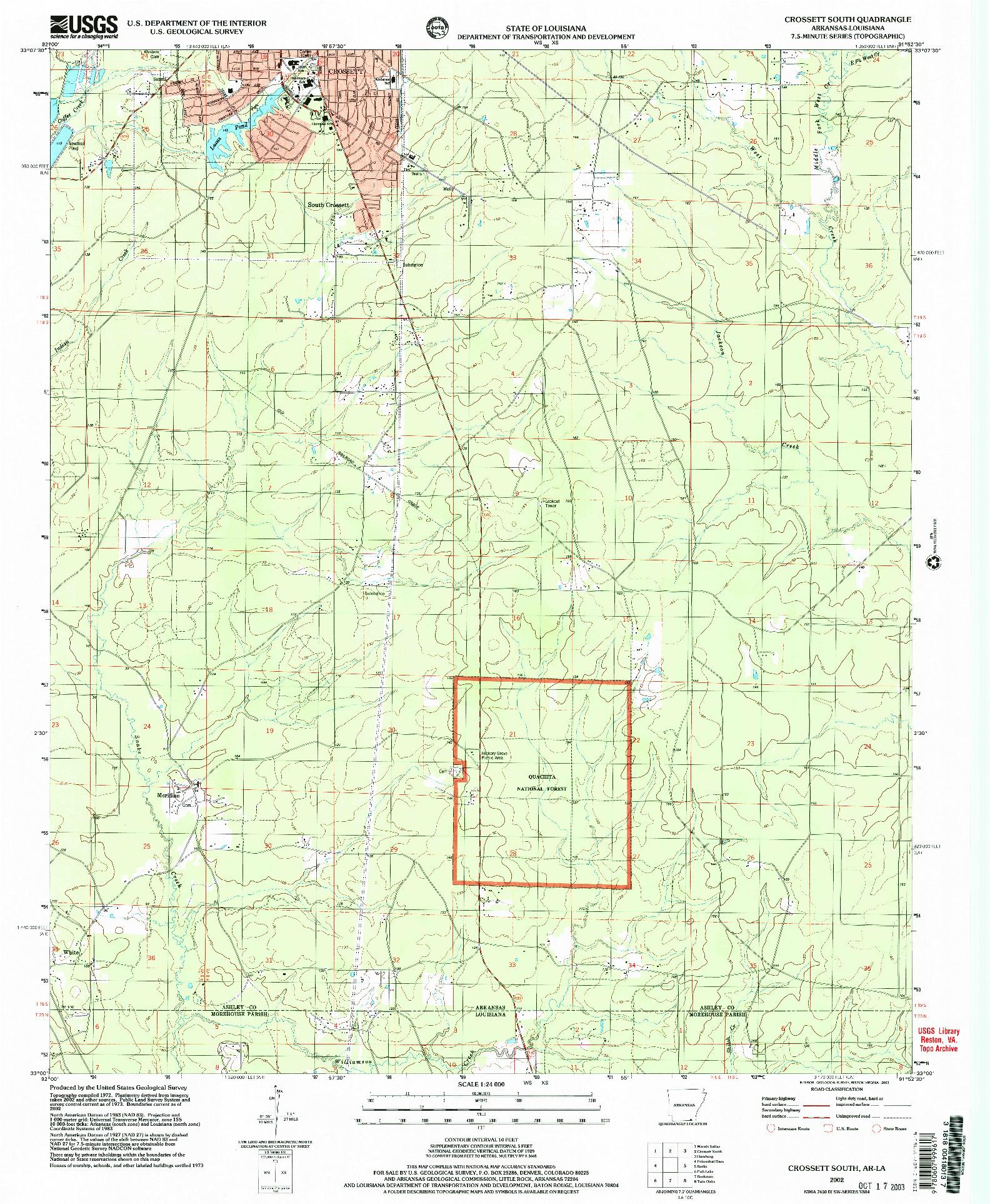 USGS 1:24000-SCALE QUADRANGLE FOR CROSSETT SOUTH, AR 2002