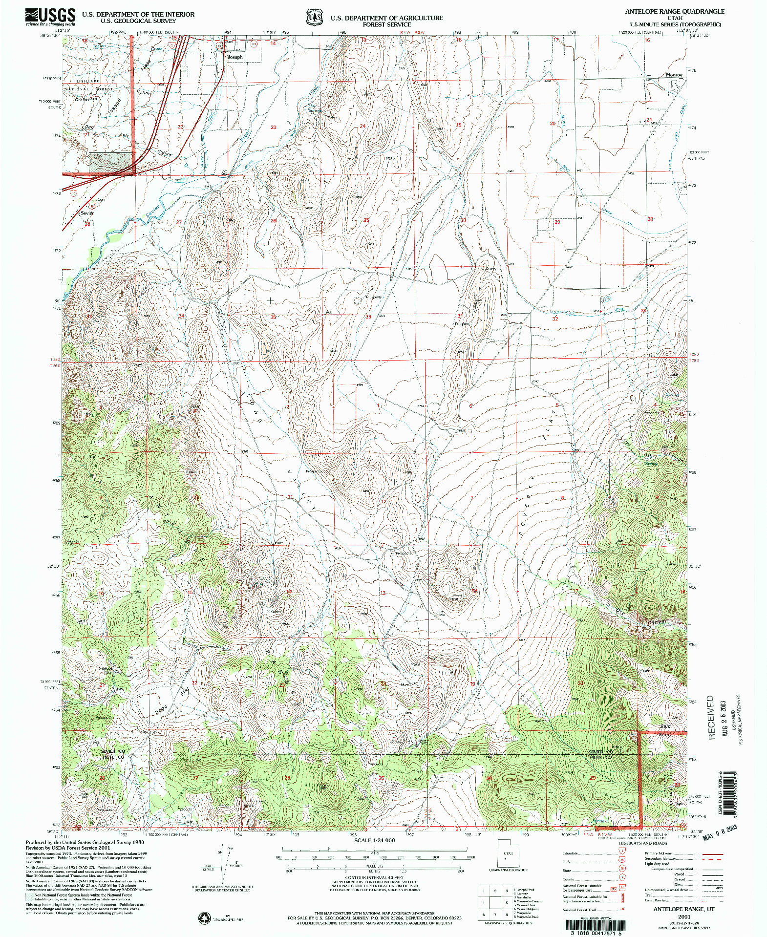 USGS 1:24000-SCALE QUADRANGLE FOR ANTELOPE RANGE, UT 2001