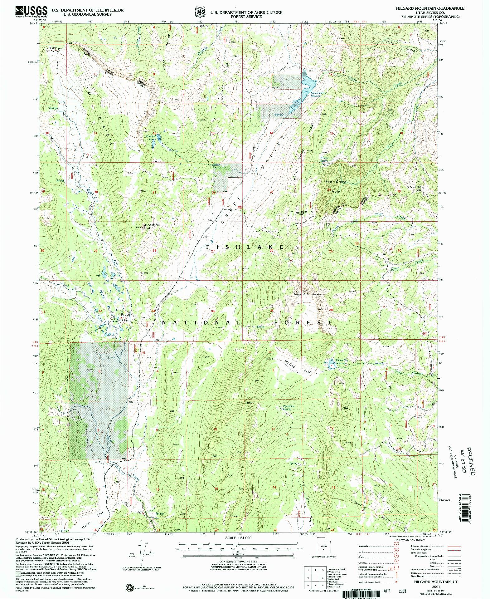 USGS 1:24000-SCALE QUADRANGLE FOR HILGARD MOUNTAIN, UT 2001