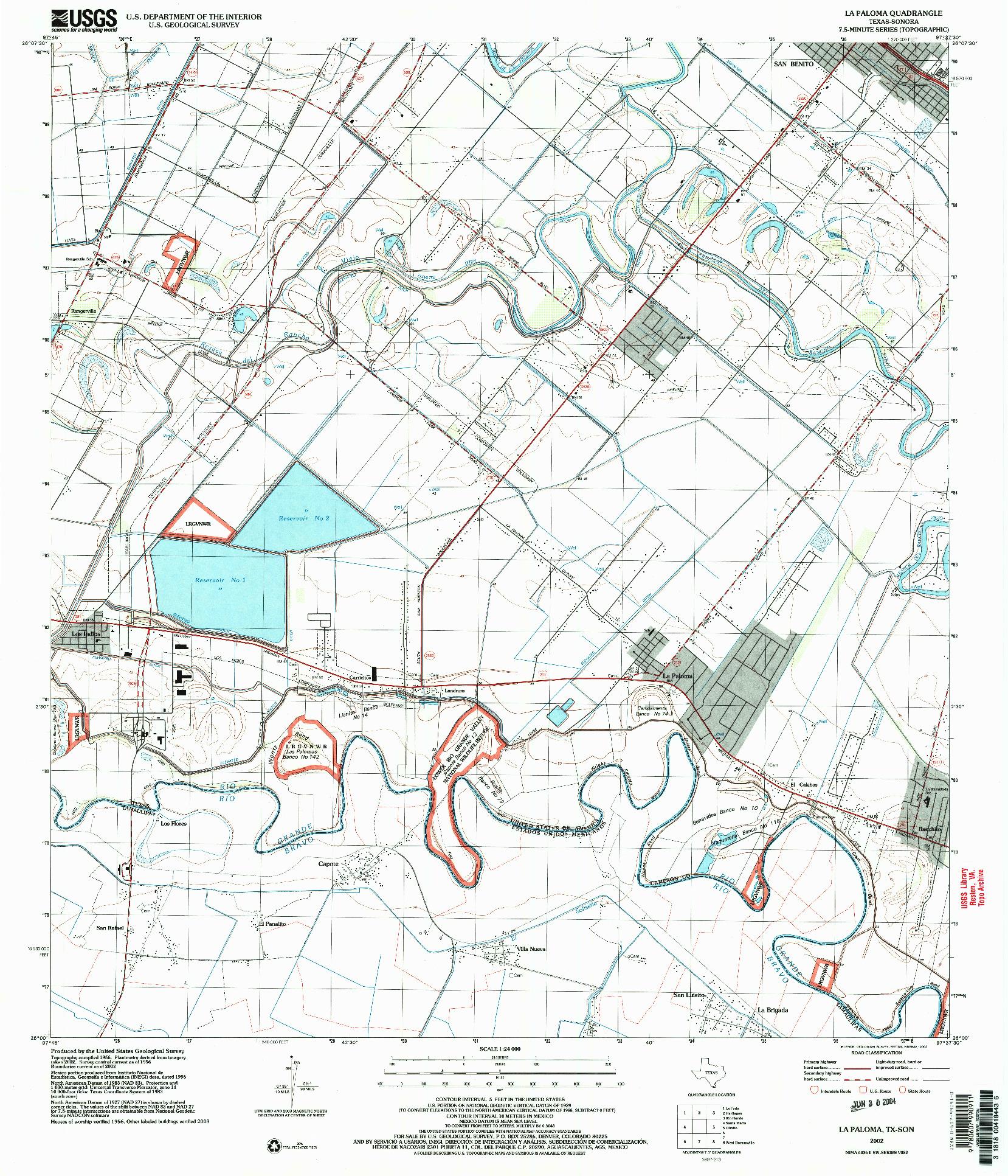 USGS 1:24000-SCALE QUADRANGLE FOR LA PALOMA, TX 2002