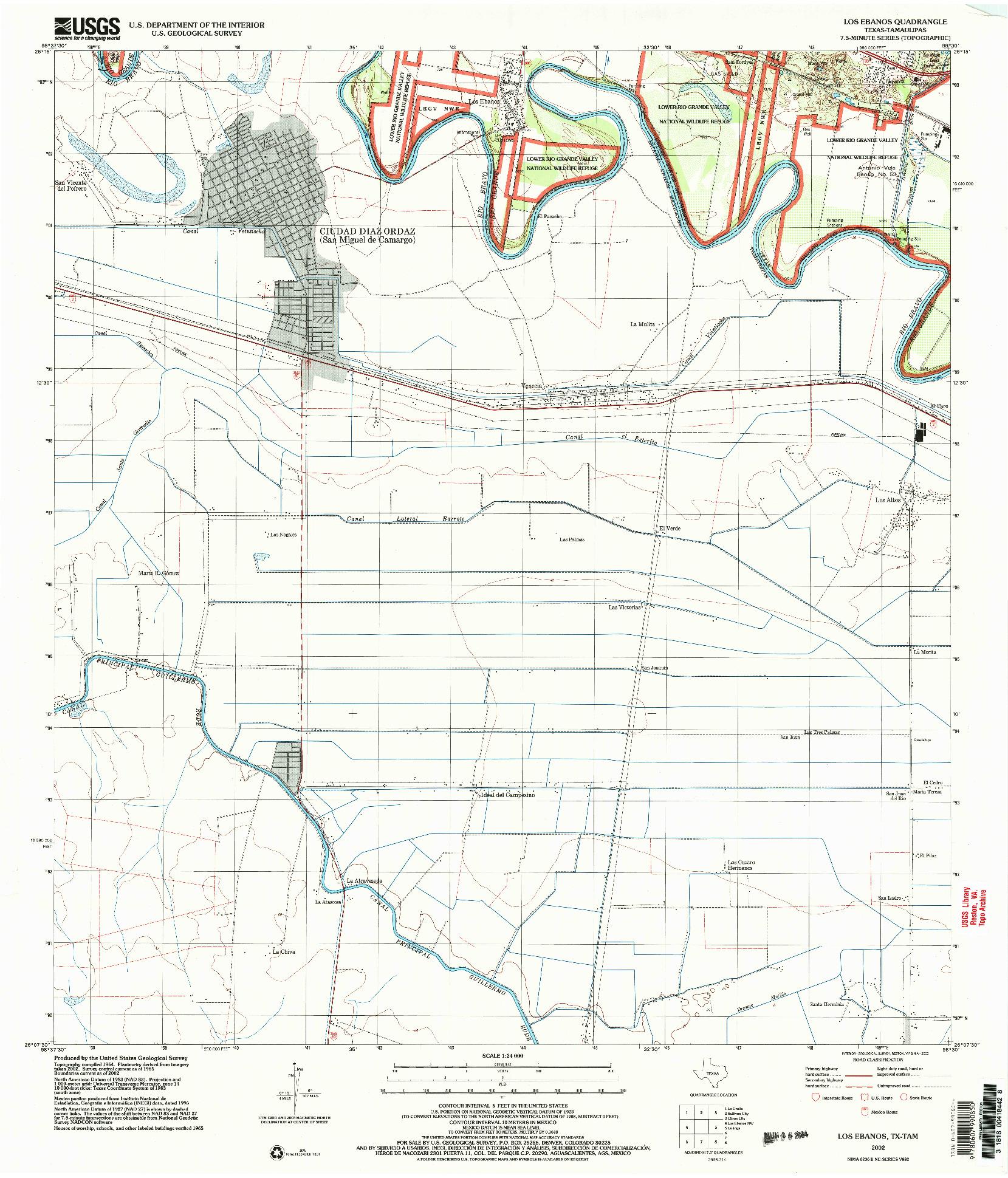 USGS 1:24000-SCALE QUADRANGLE FOR LOS EBANOS, TX 2002
