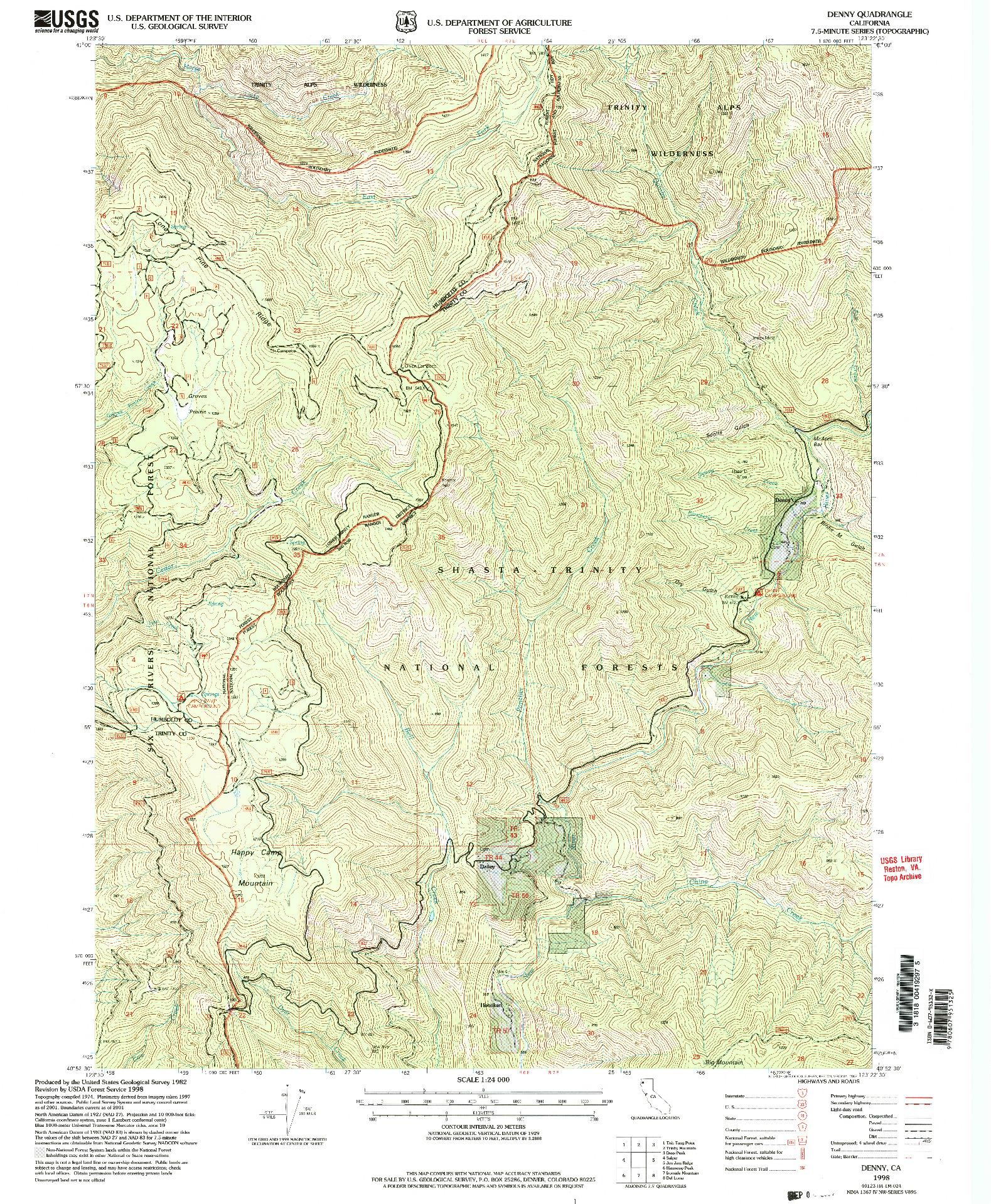 USGS 1:24000-SCALE QUADRANGLE FOR DENNY, CA 1998