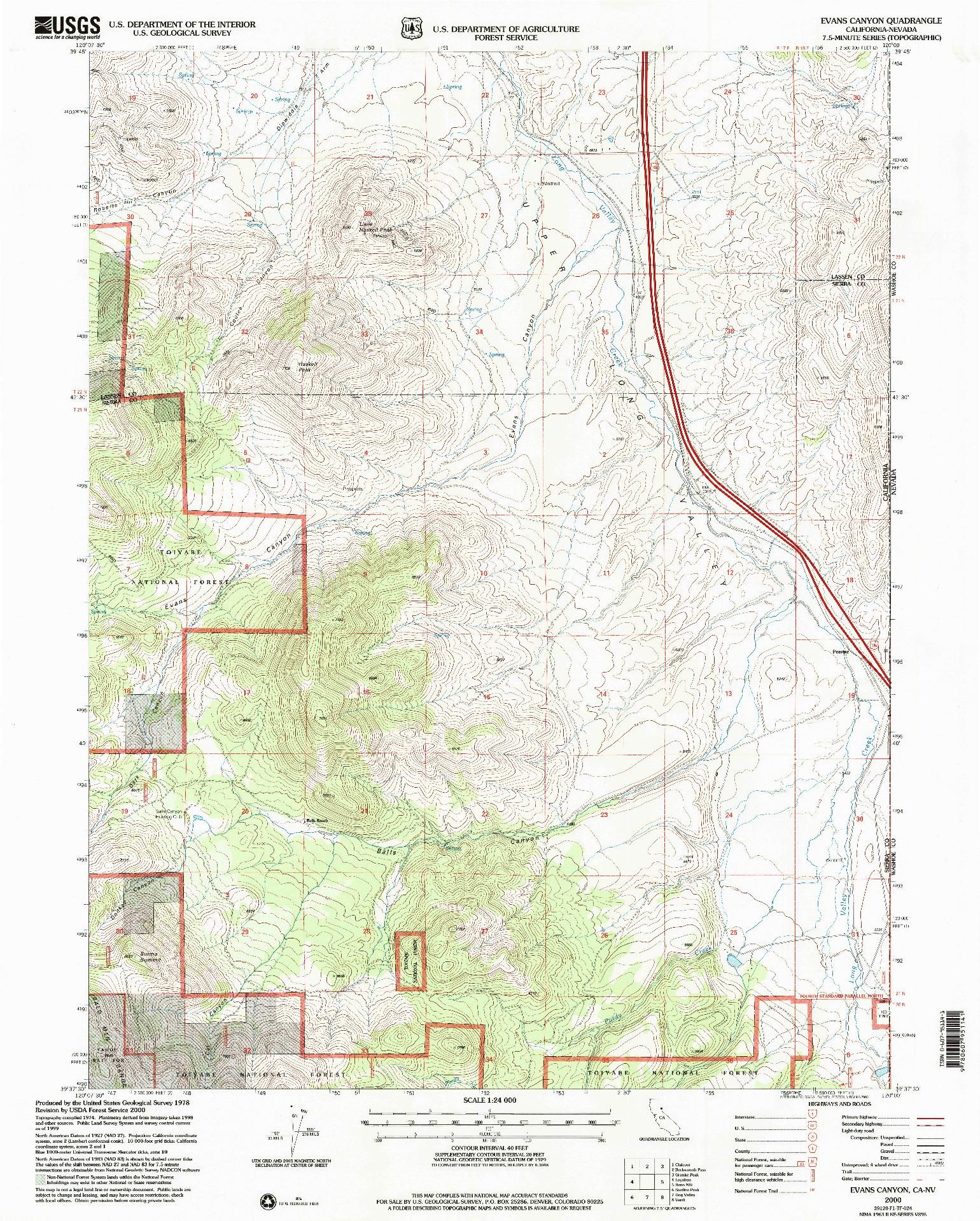 USGS 1:24000-SCALE QUADRANGLE FOR EVANS CANYON, CA 2000