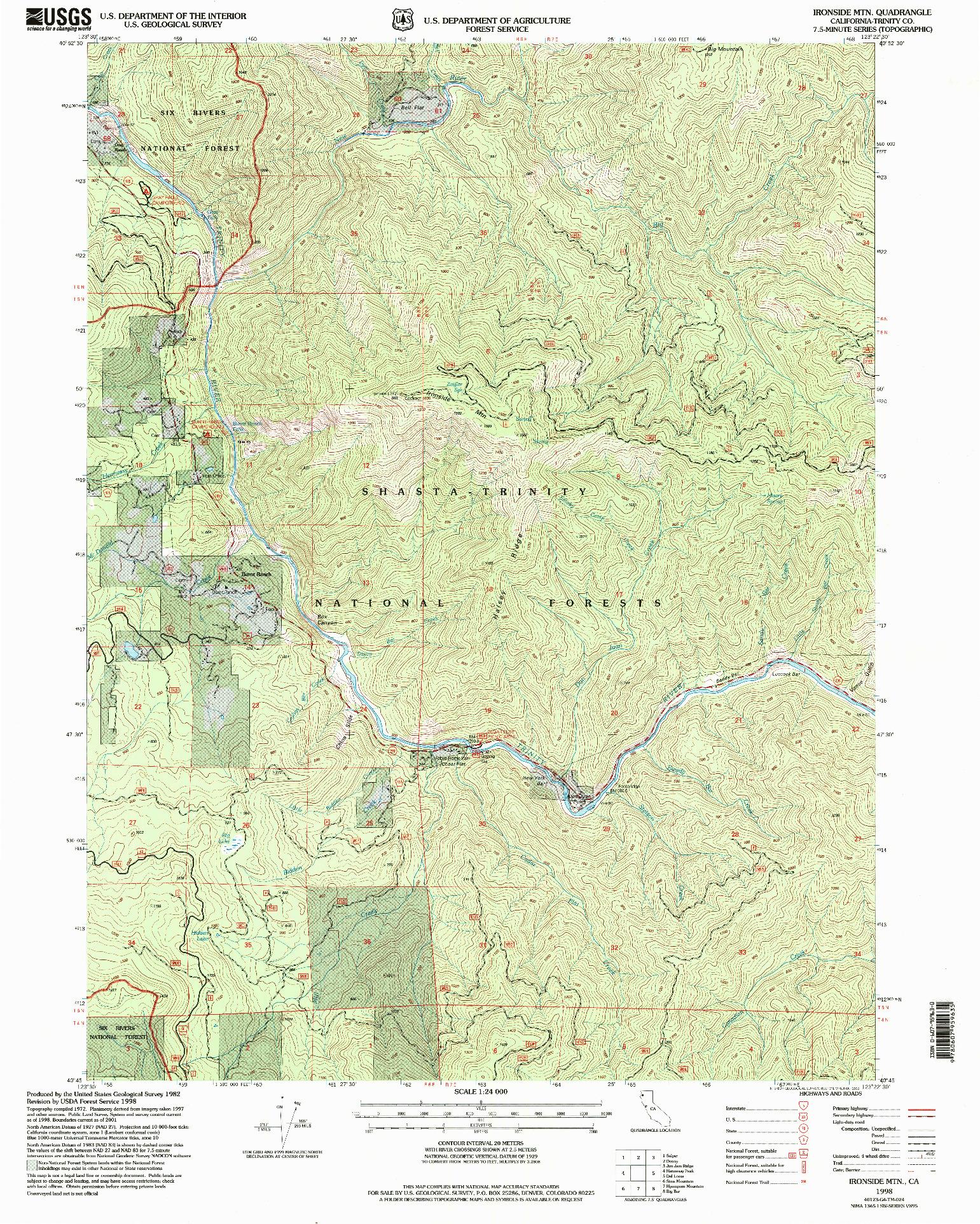 USGS 1:24000-SCALE QUADRANGLE FOR IRONSIDE MTN, CA 1998