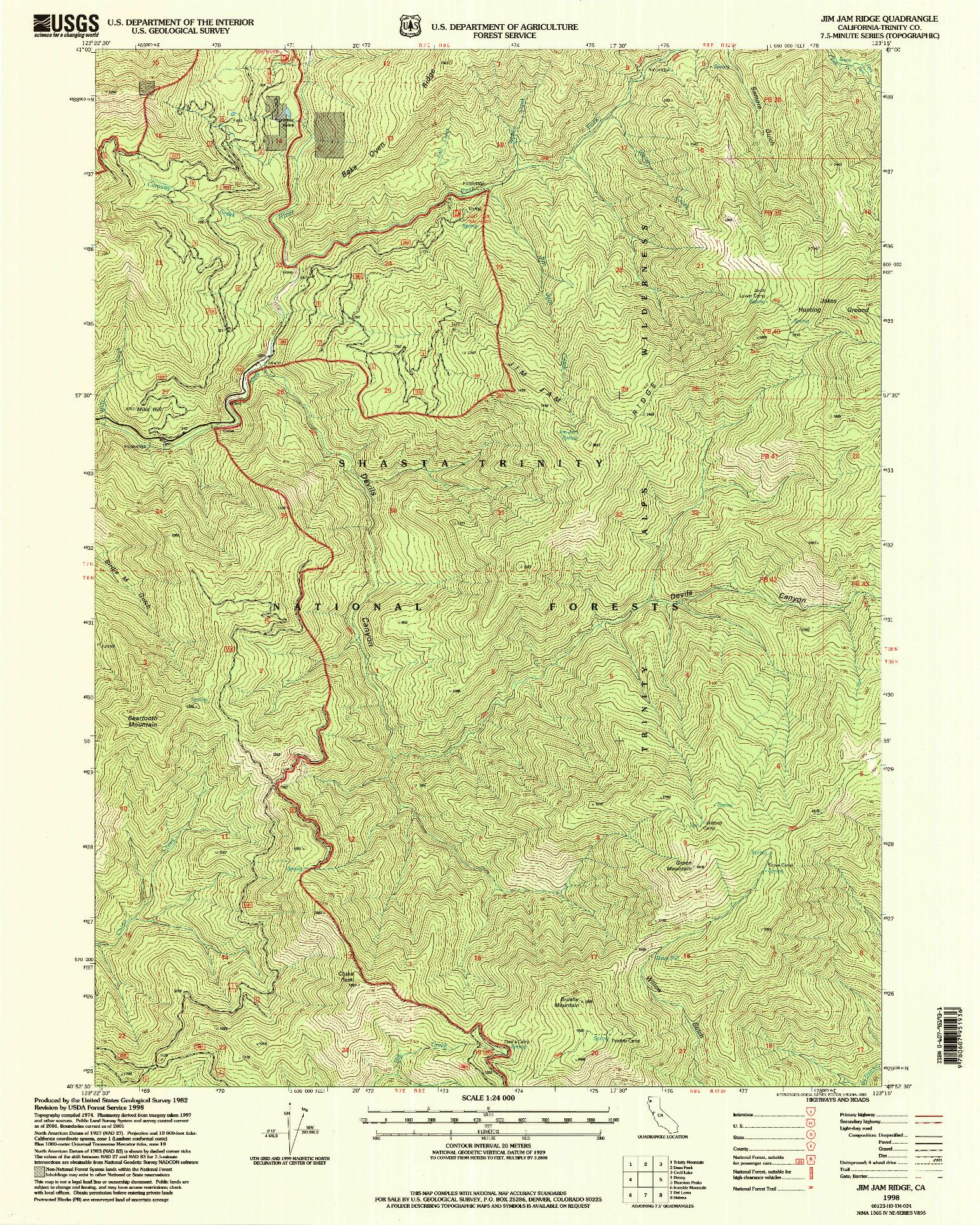 USGS 1:24000-SCALE QUADRANGLE FOR JIM JAM RIDGE, CA 1998