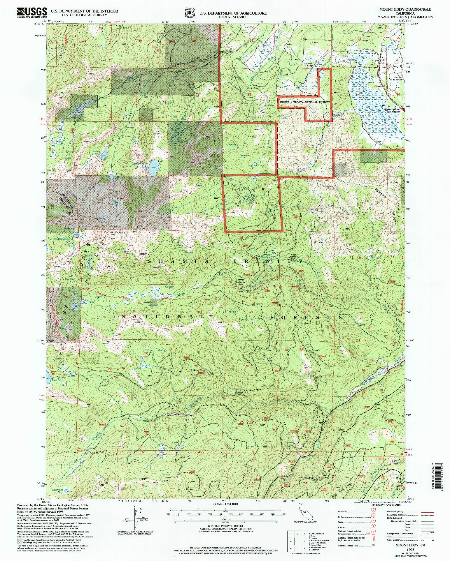 USGS 1:24000-SCALE QUADRANGLE FOR MOUNT EDDY, CA 1998