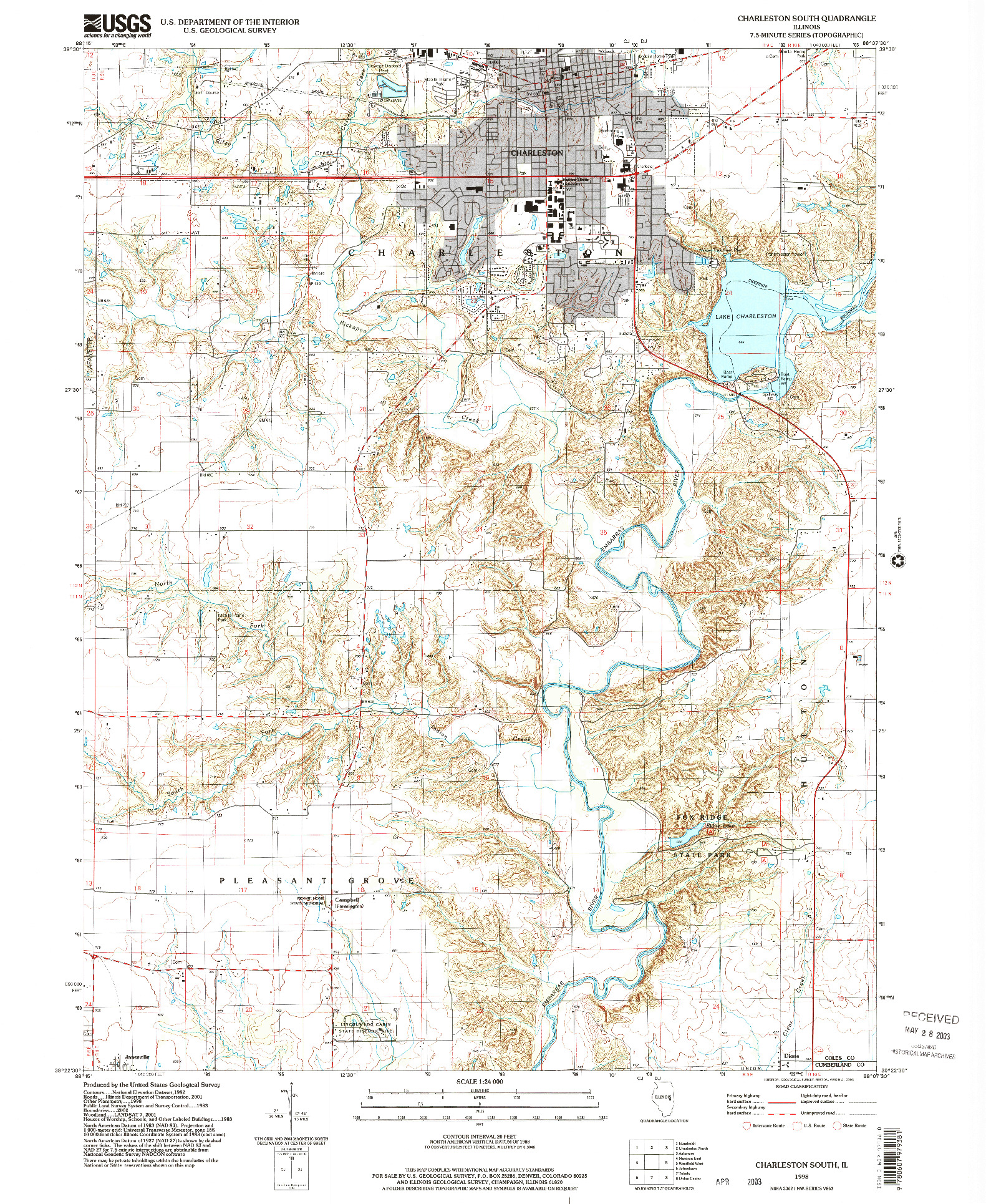 USGS 1:24000-SCALE QUADRANGLE FOR CHARLESTON SOUTH, IL 1998