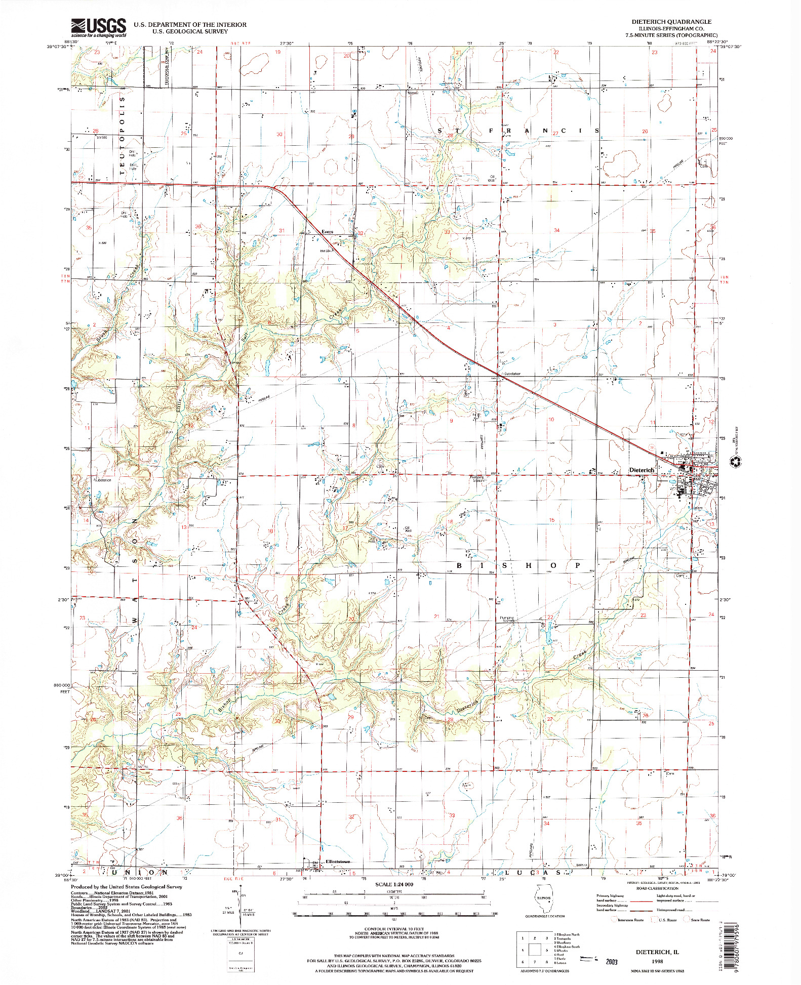 USGS 1:24000-SCALE QUADRANGLE FOR DIETERICH, IL 1998