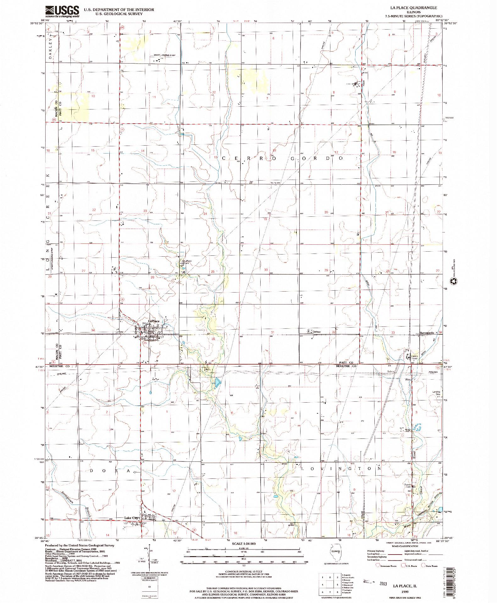 USGS 1:24000-SCALE QUADRANGLE FOR LA PLACE, IL 1999