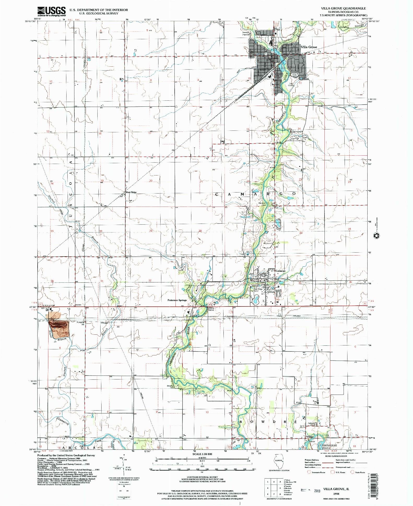 USGS 1:24000-SCALE QUADRANGLE FOR VILLA GROVE, IL 1998