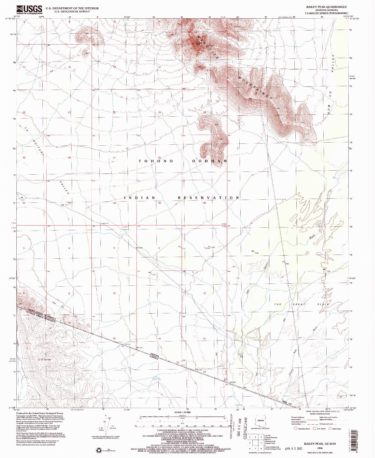 USGS 1:24000-SCALE QUADRANGLE FOR BAILEY PEAK, AZ 1996