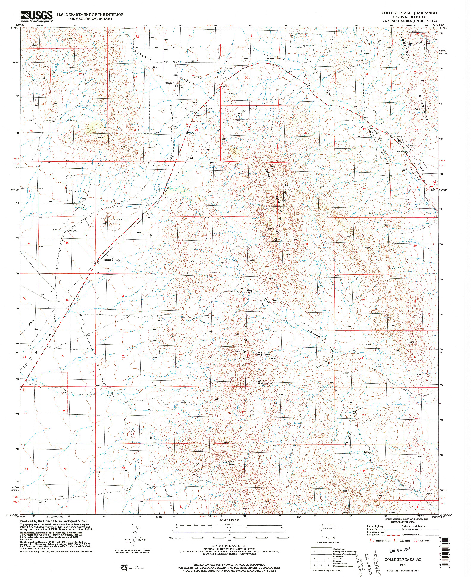 USGS 1:24000-SCALE QUADRANGLE FOR COLLEGE PEAKS, AZ 1996