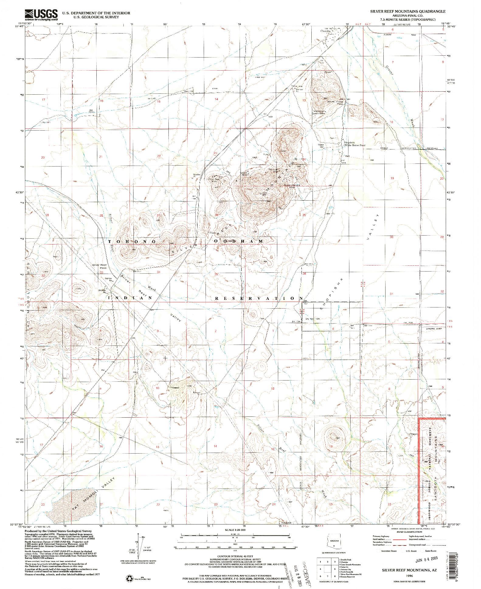 USGS 1:24000-SCALE QUADRANGLE FOR SILVER REEF MOUNTAINS, AZ 1996