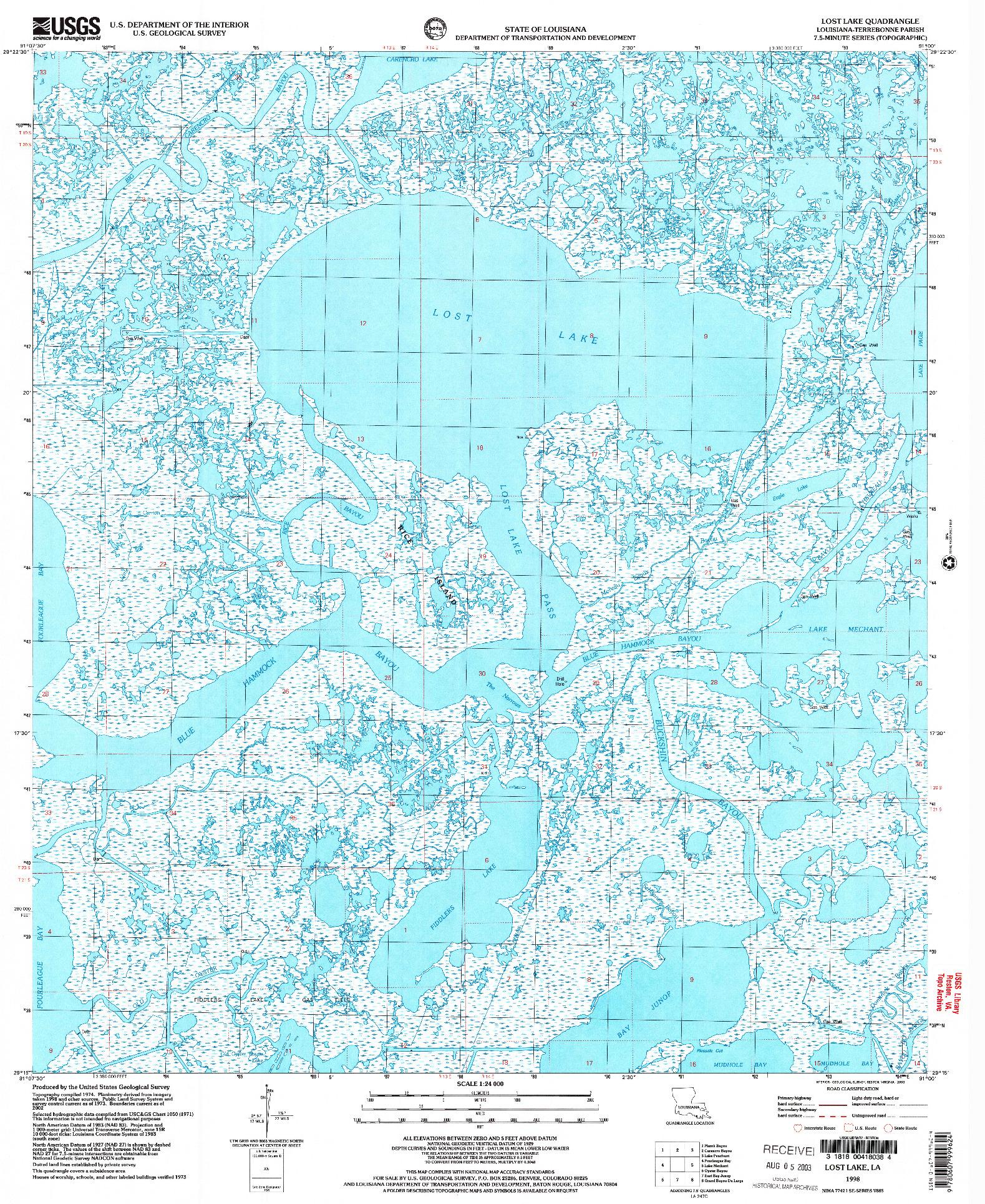 USGS 1:24000-SCALE QUADRANGLE FOR LOST LAKE, LA 1998