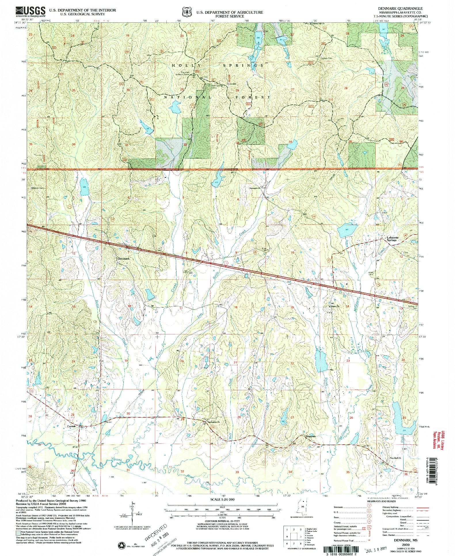 USGS 1:24000-SCALE QUADRANGLE FOR DENMARK, MS 2000