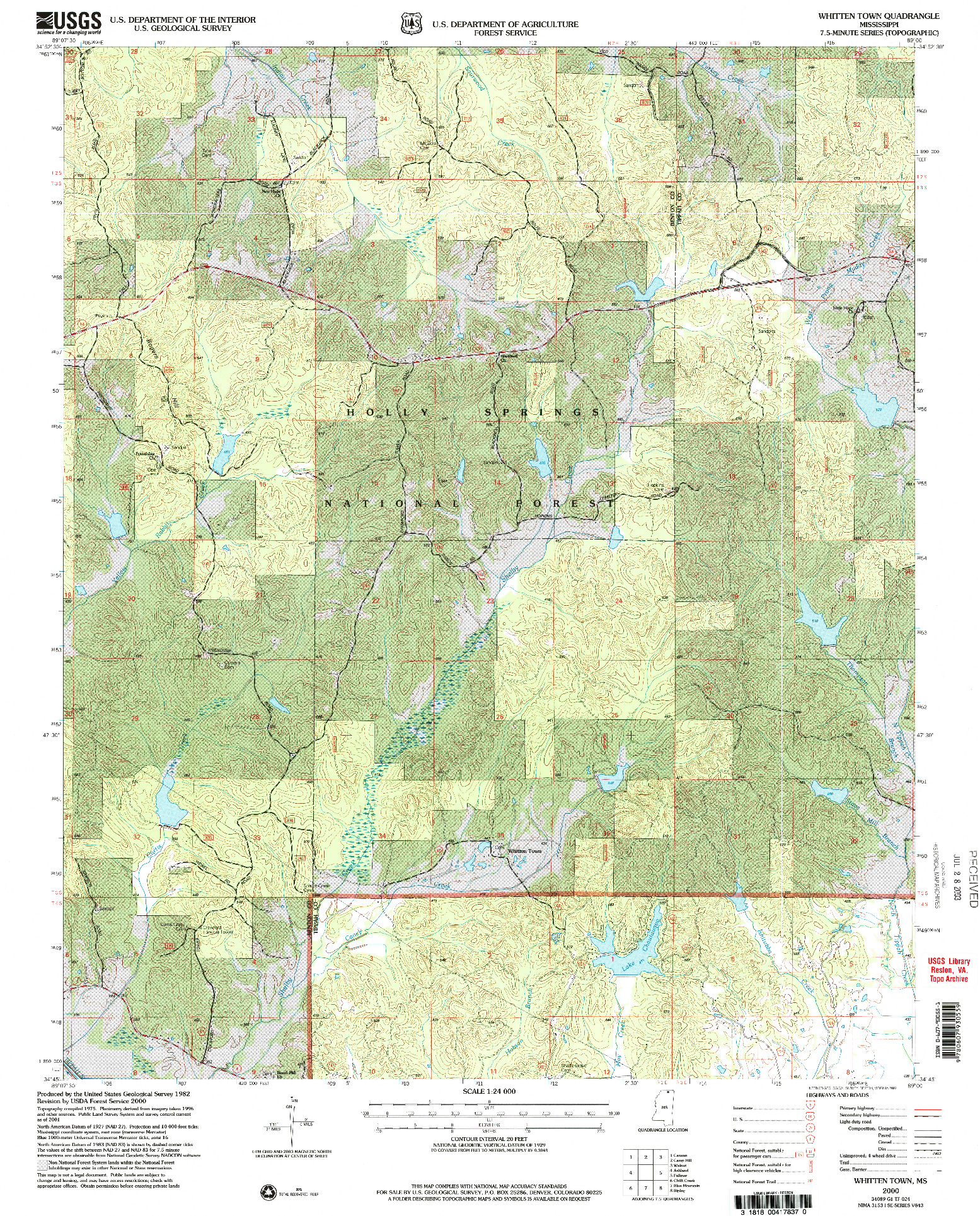 USGS 1:24000-SCALE QUADRANGLE FOR WHITTEN TOWN, MS 2000