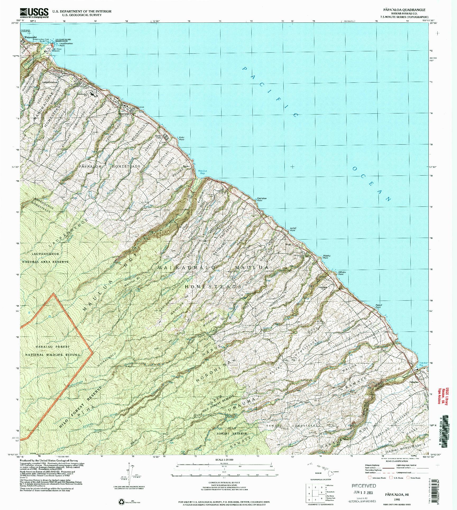 USGS 1:24000-SCALE QUADRANGLE FOR PAPAALOA, HI 1992
