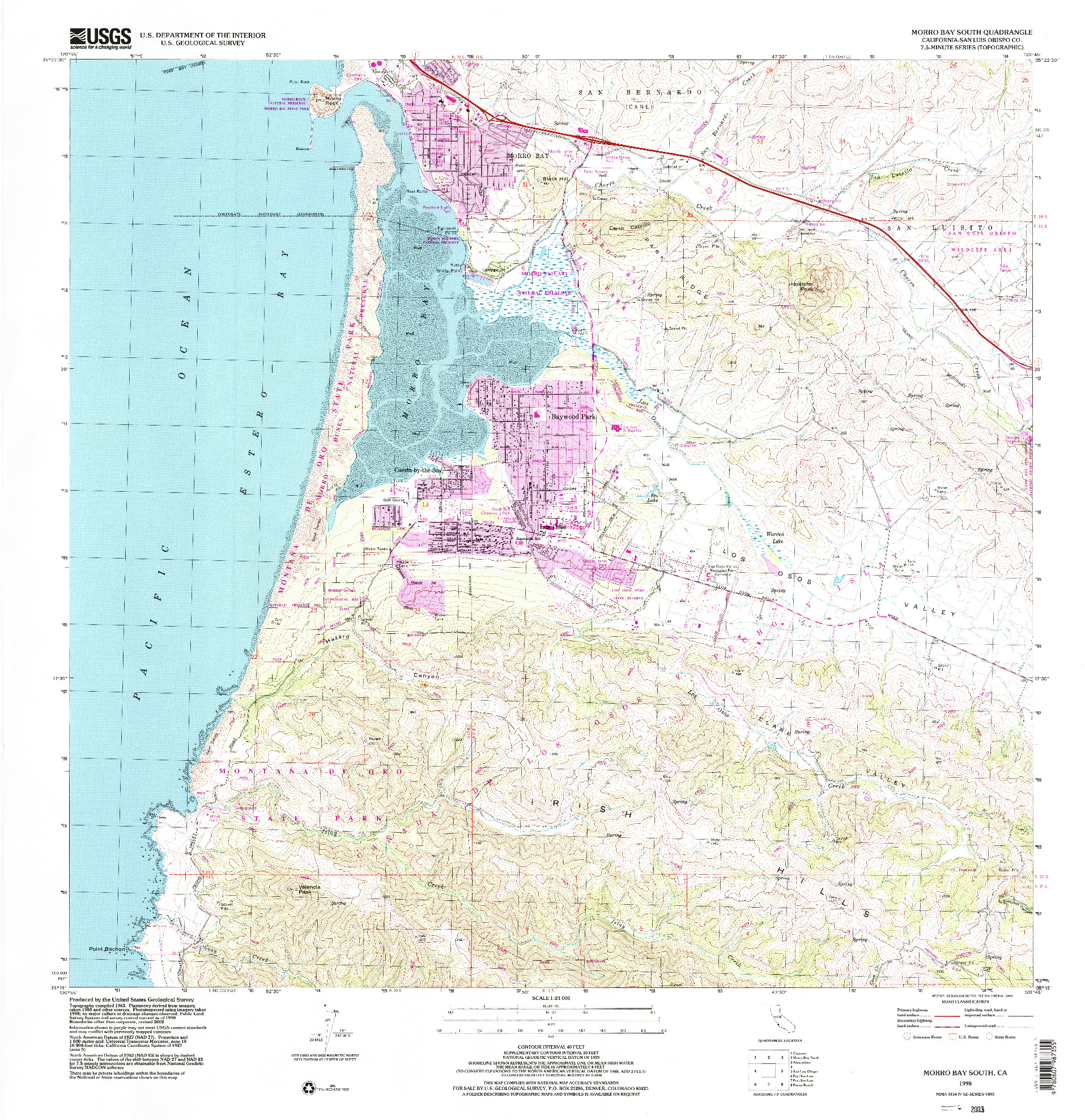 USGS 1:24000-SCALE QUADRANGLE FOR MORRO BAY SOUTH, CA 1998