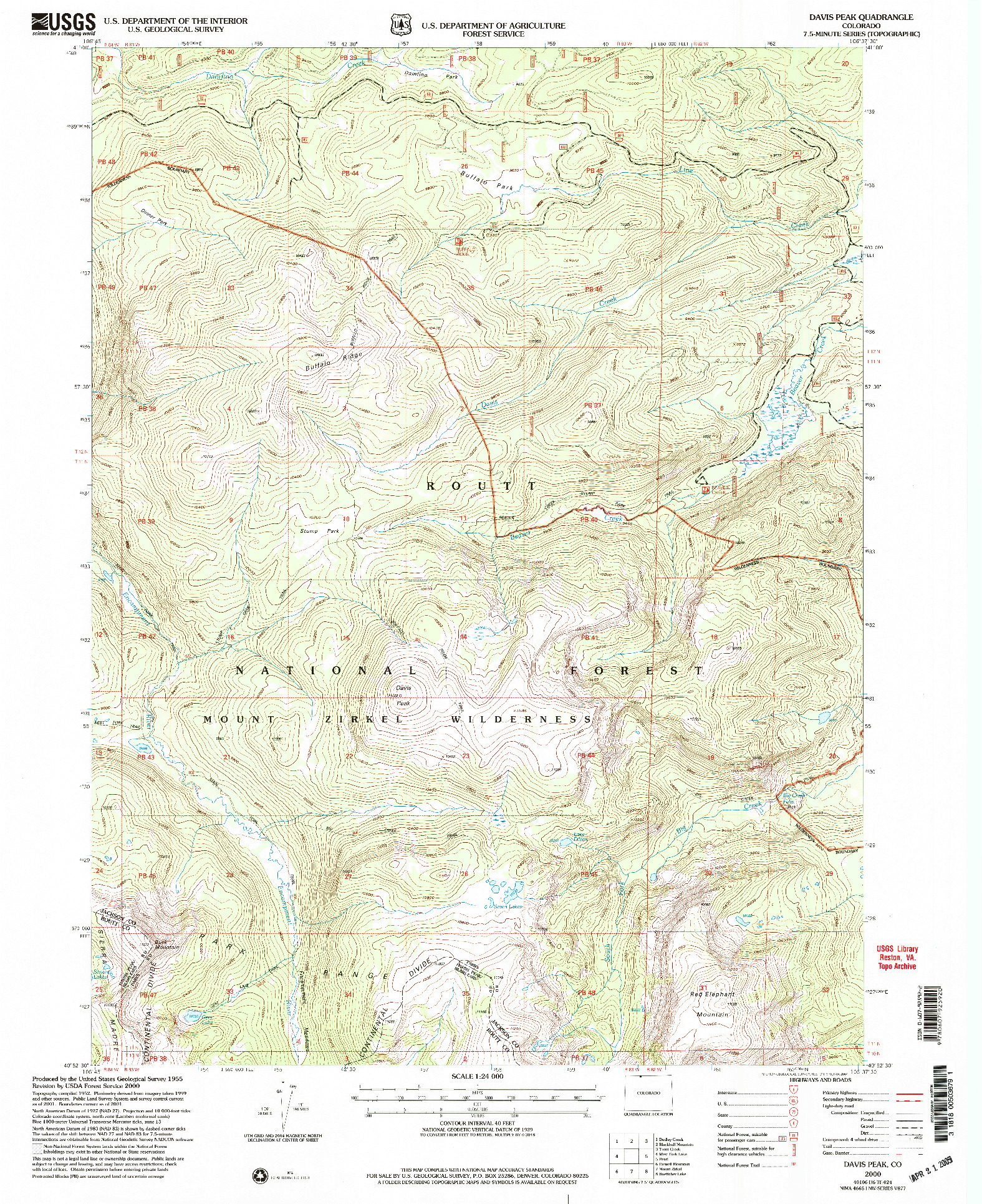 USGS 1:24000-SCALE QUADRANGLE FOR DAVIS PEAK, CO 2000