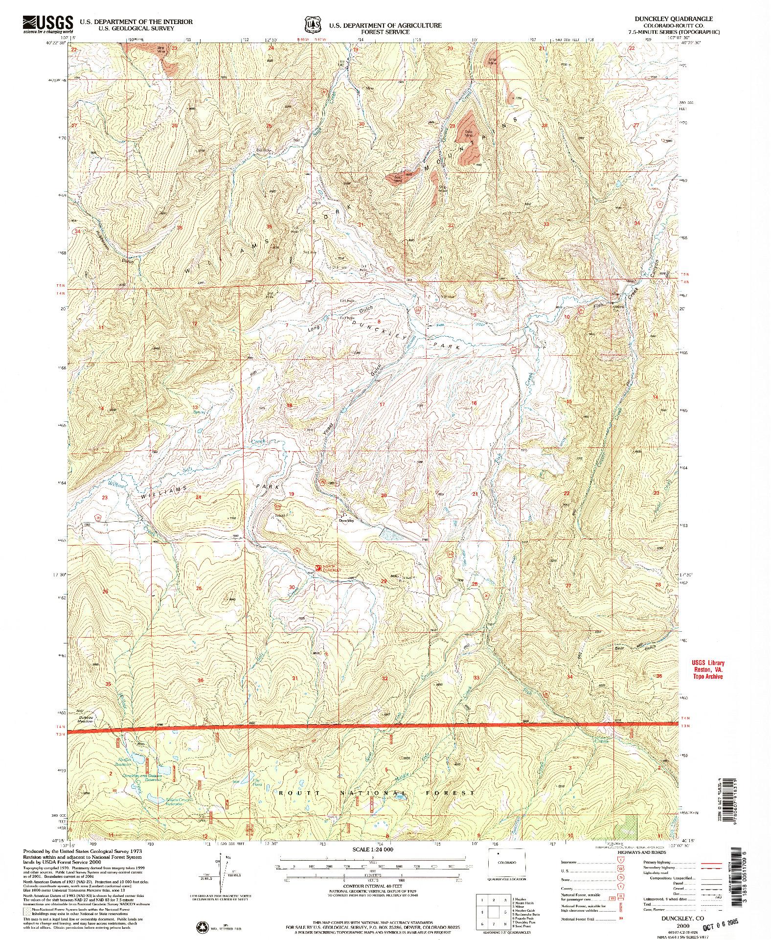 USGS 1:24000-SCALE QUADRANGLE FOR DUNCKLEY, CO 2000