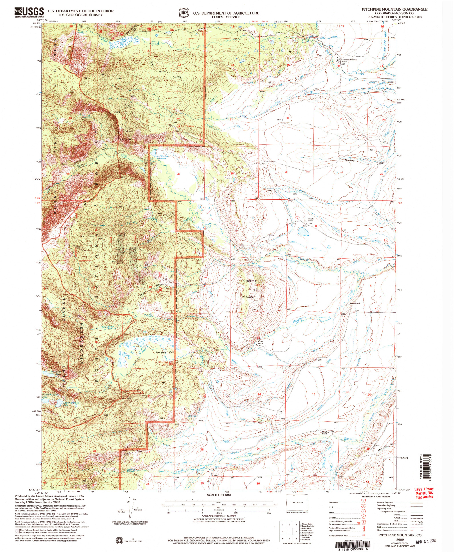 USGS 1:24000-SCALE QUADRANGLE FOR PITCHPINE MOUNTAIN, CO 2000