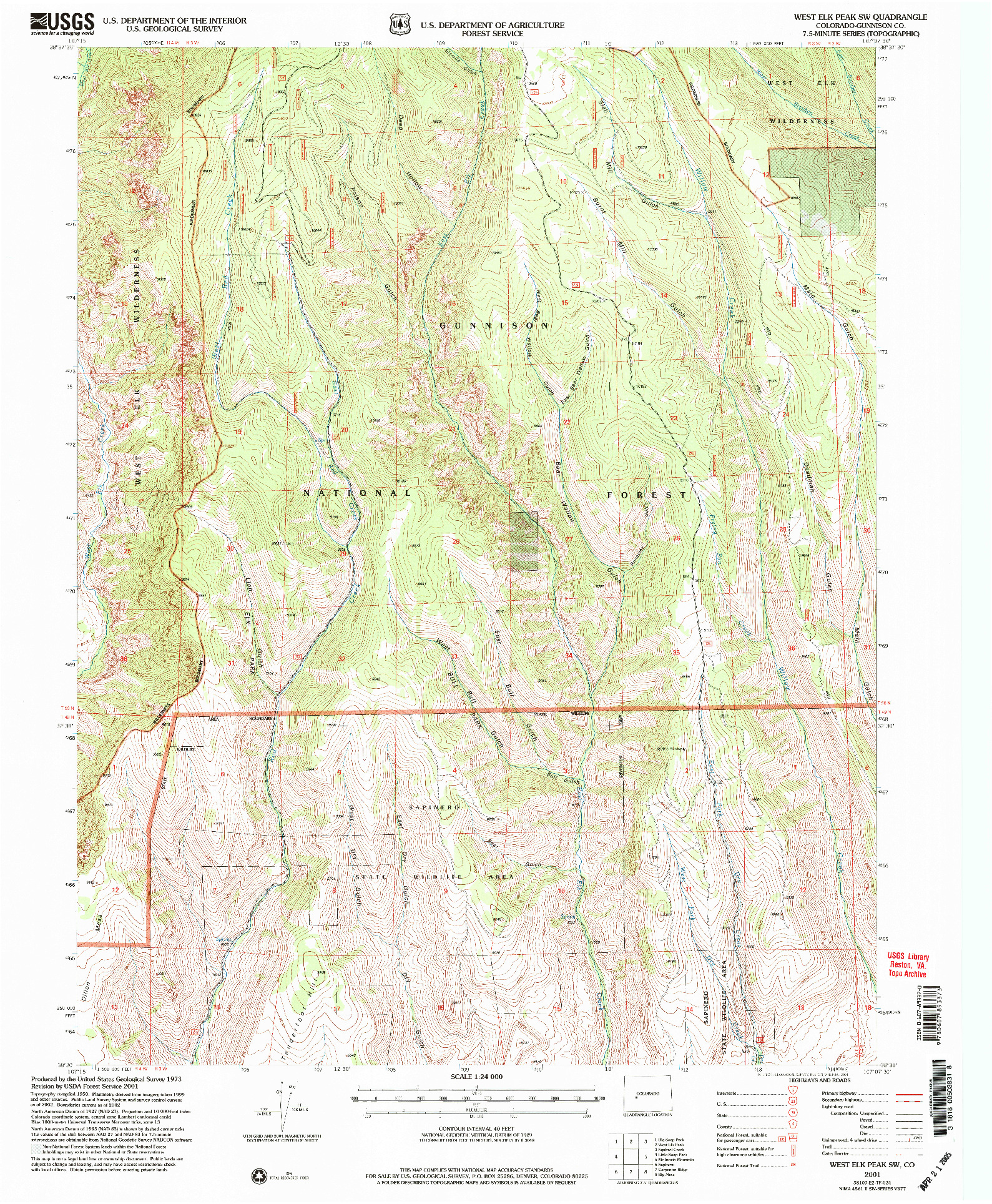USGS 1:24000-SCALE QUADRANGLE FOR WEST ELK PEAK SW, CO 2001