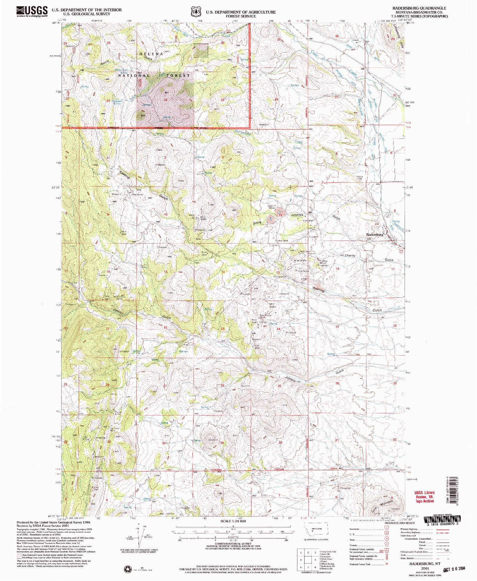 USGS 1:24000-SCALE QUADRANGLE FOR RADERSBURG, MT 2001